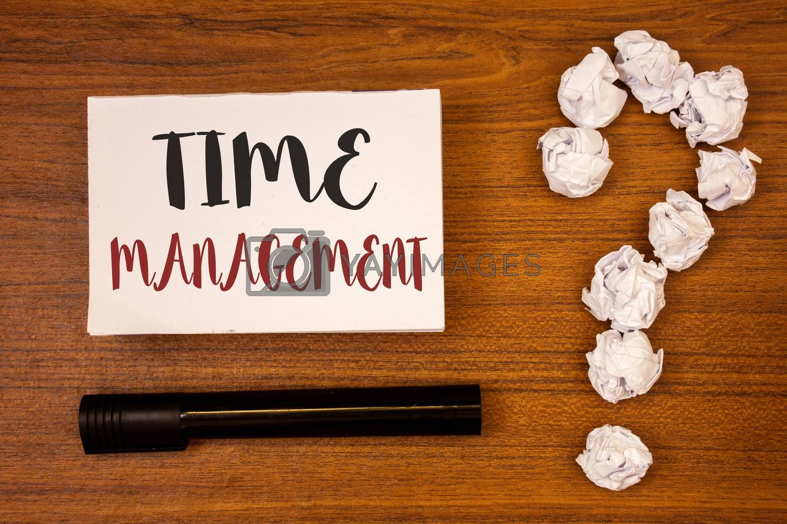 Text sign showing Time Management. Conceptual photo Schedule Planned for Job Efficiency Meeting Deadlines Ideas on paper wooden background quotation mark crumpled papers