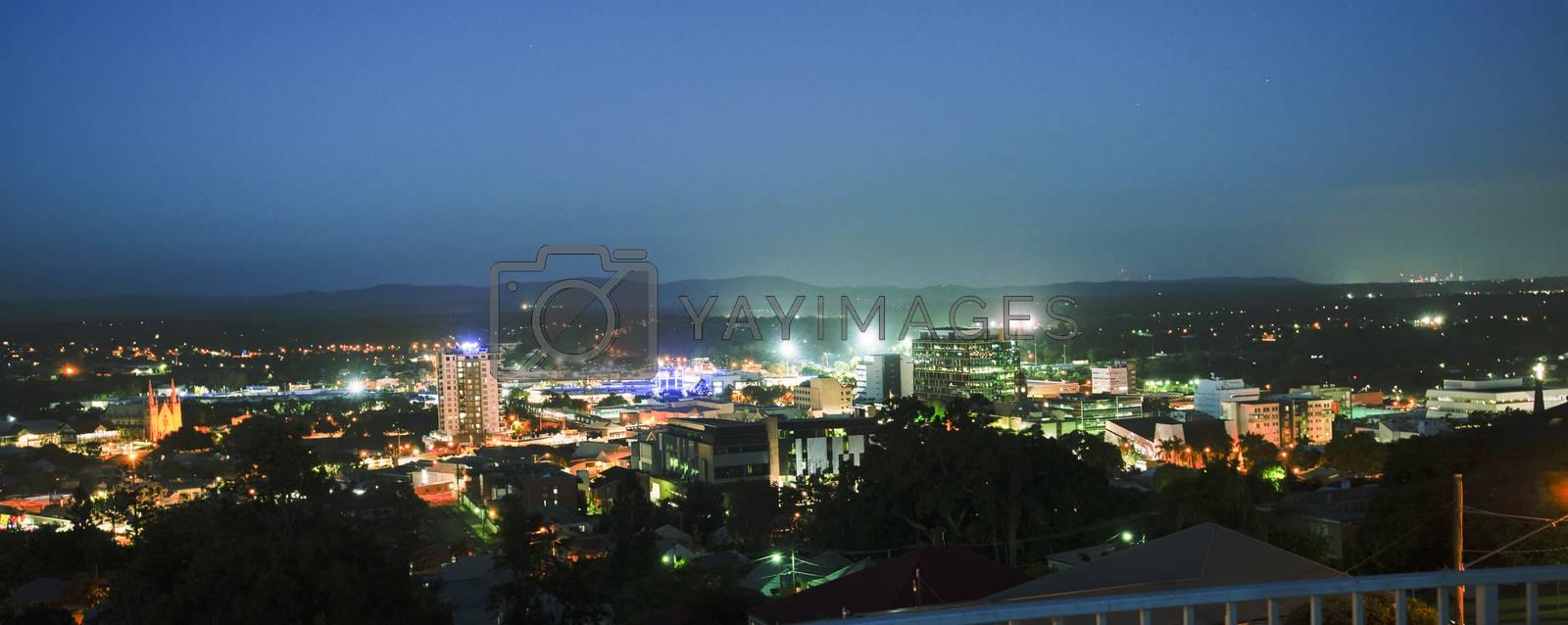 View of the CBD of Ipswich City at night. Queensland, Australia.