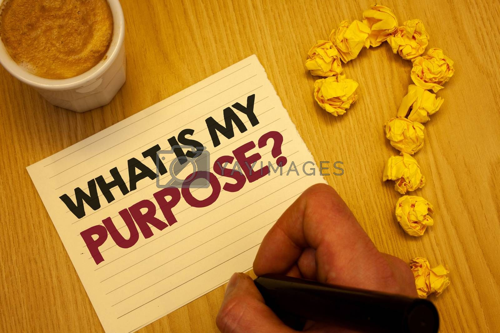 Conceptual hand writing showing What Is My Purpose Question. Business photo showcasing Direction Importance Discernment Reflection Wooden desktop hand hold marker page coffee question mark