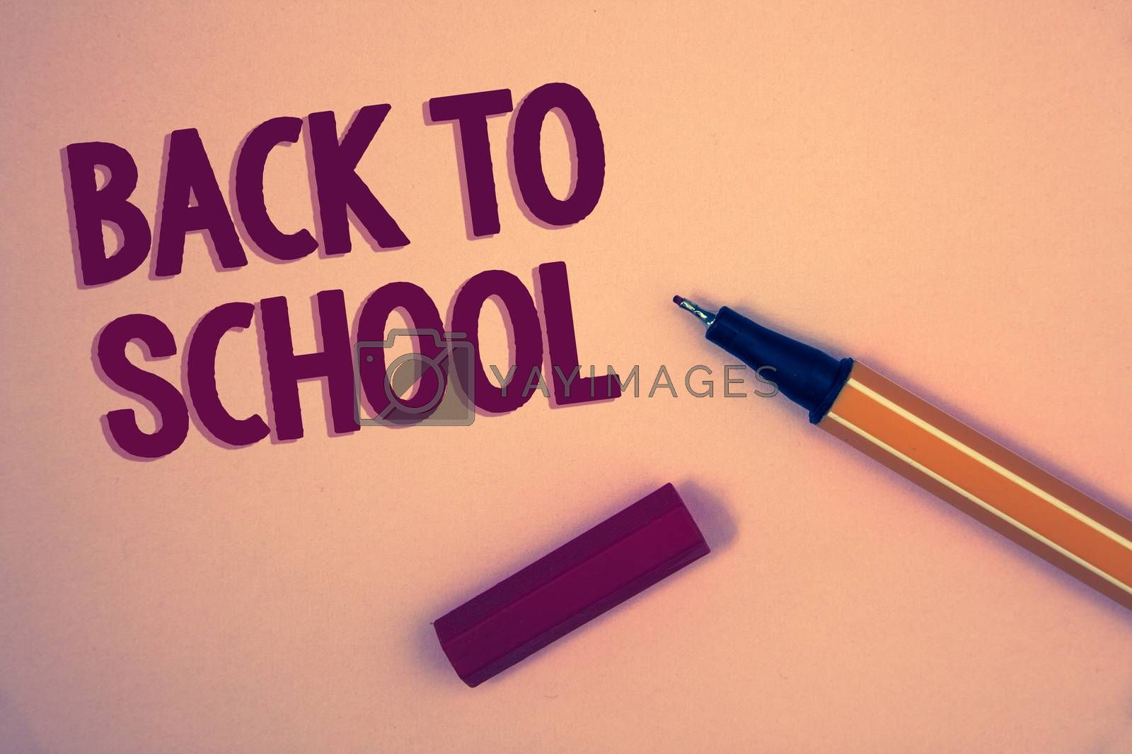 Conceptual hand writing showing Back To School. Business photo showcasing Return to class first day of studies Classroom Arriving Words yellow background open blue yellow pen message letter