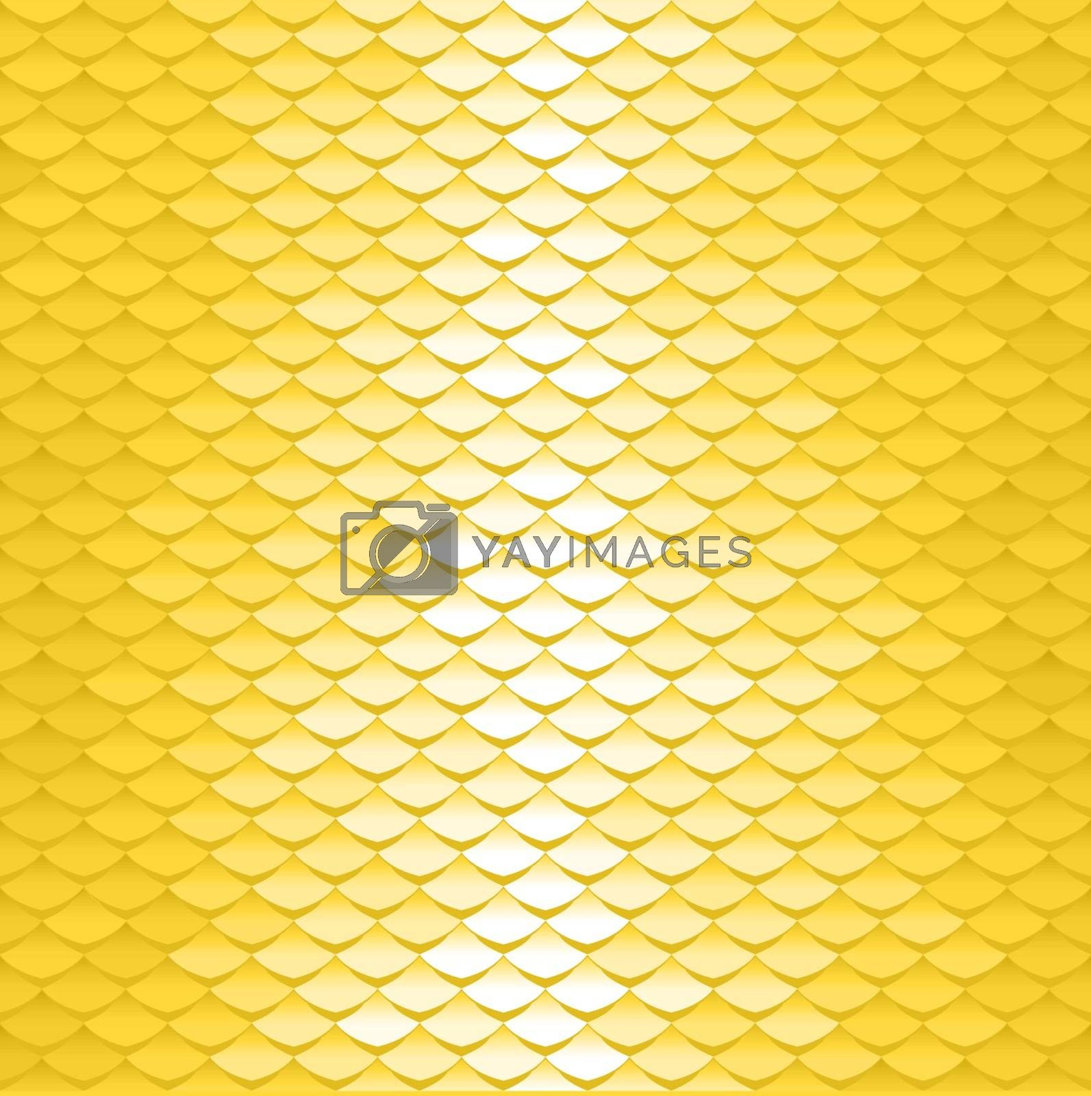 Seamless scale pattern. Abstract roof tiles background. Yellow squama texture.