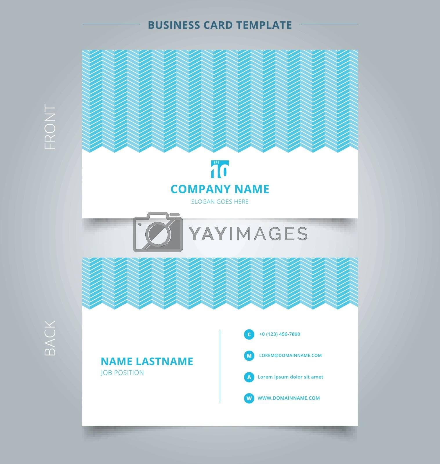 Namecard template white color serrated lines pattern on blue background. Vector illustration