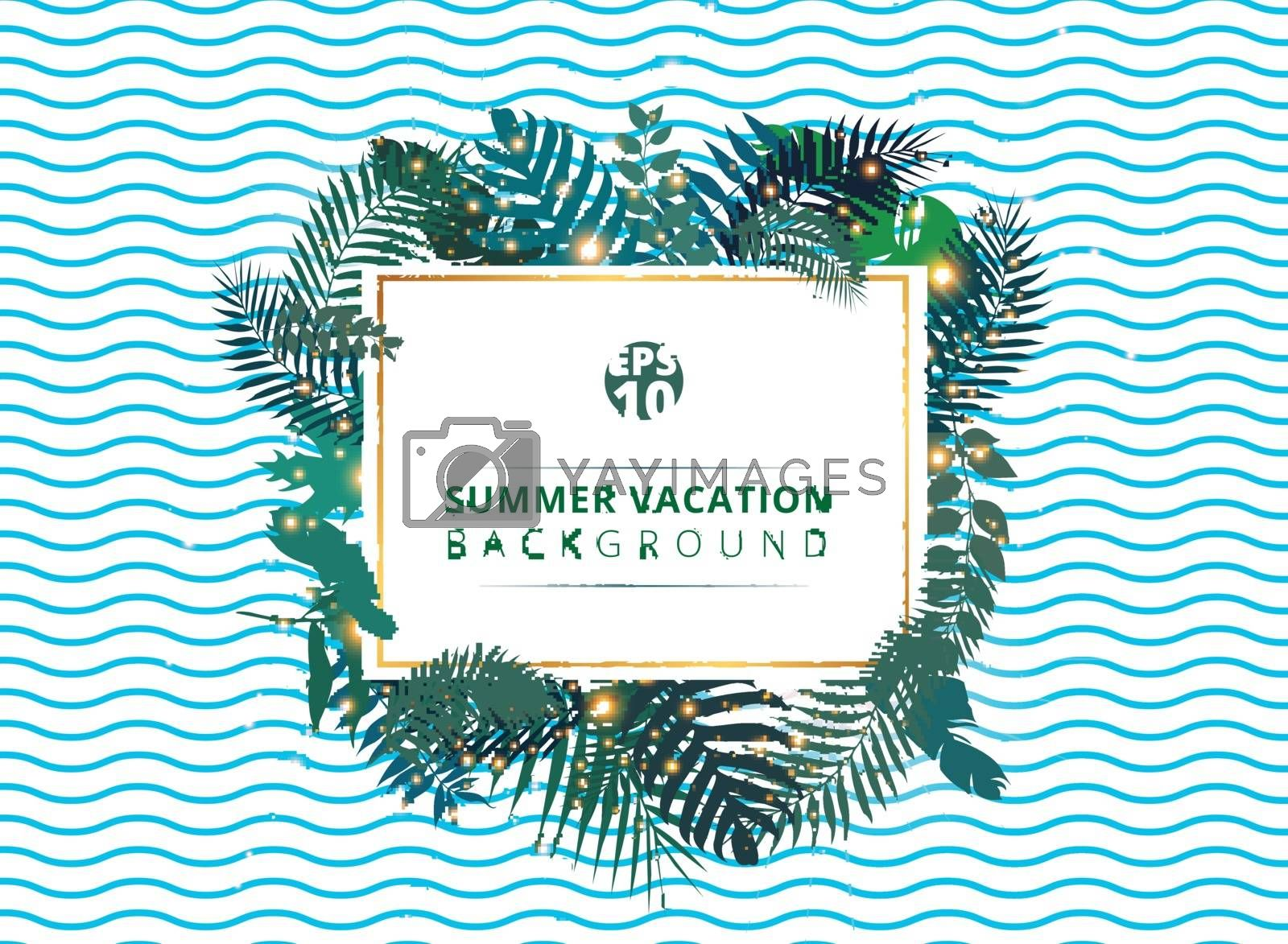 Trendy summer tropical with exotic palm leaves or plants and lighting effect on blue wave background. Vector illustration