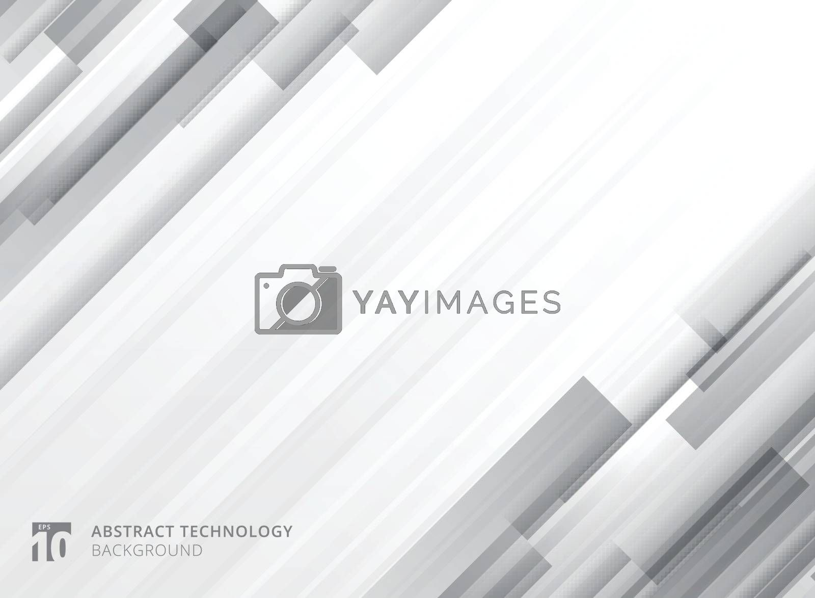 Abstract technology vertical overlap geometric squares shape gray colour on white background with copy space. Vector graphic illustration