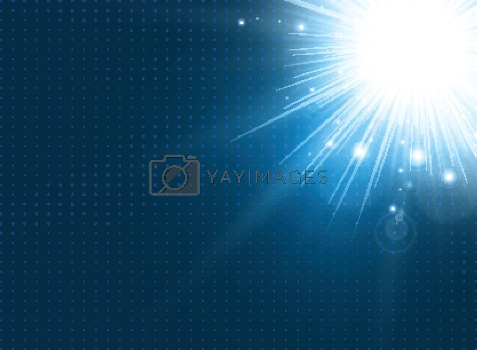 Abstract technology with lighting burst on blue background. Vector illustration