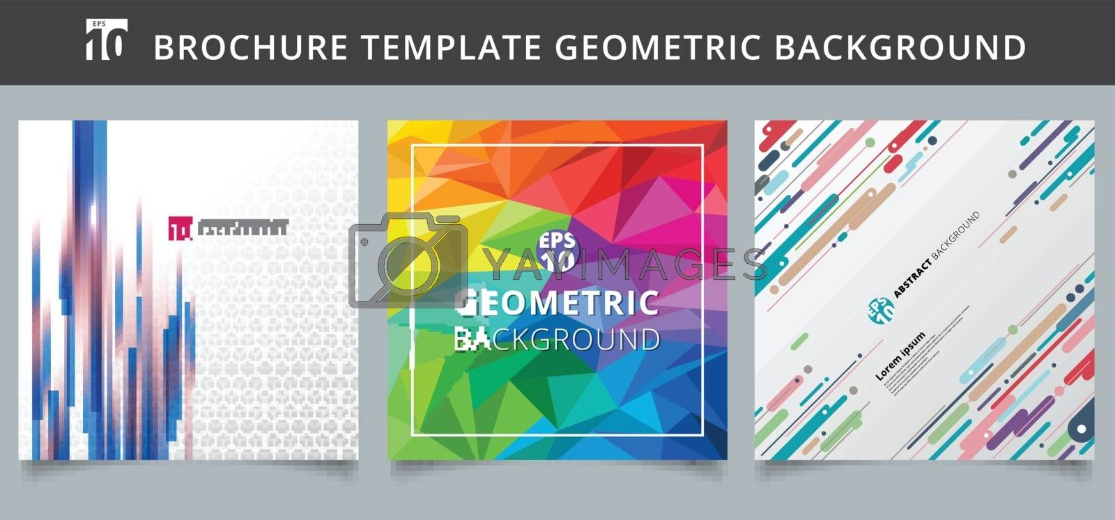 Set template geometric covers design. You can use for print, ad, brochure, leaflet, flyer, poster, magazine, banner, website. Vector illustration