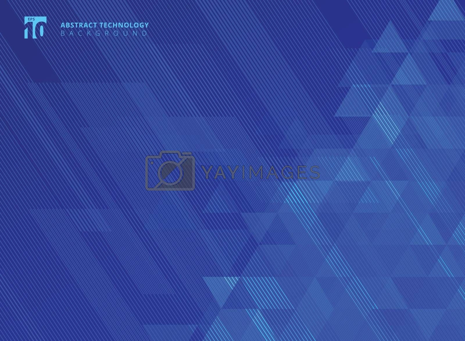 Abstract lines and triangles pattern technology on blue gradients background. Vector illustration