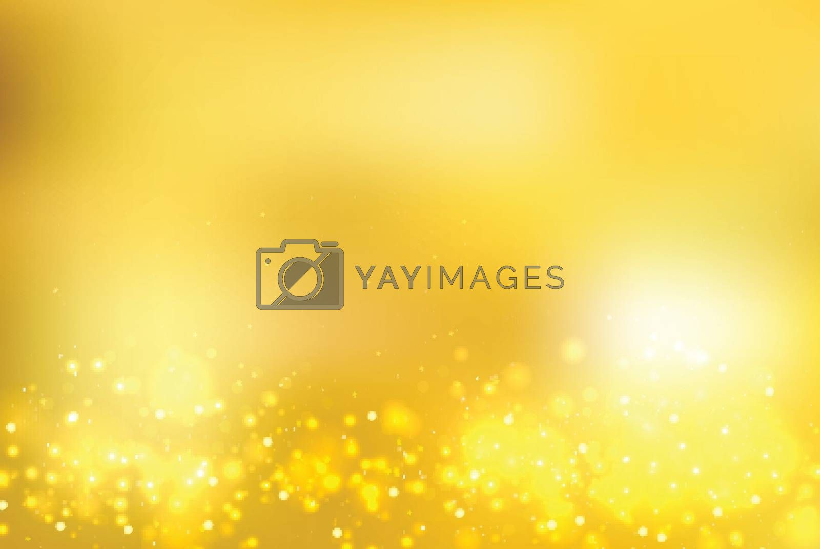 Abstract gold blurred background with bokeh and gold glitter footers. Copy space. Vector illustration