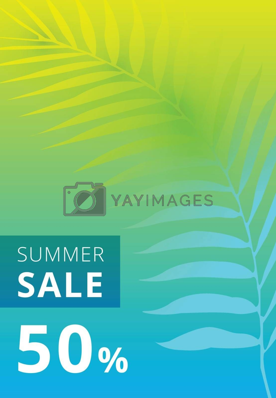 Summer sale banner. palm leaves colorful background. Vector illustration