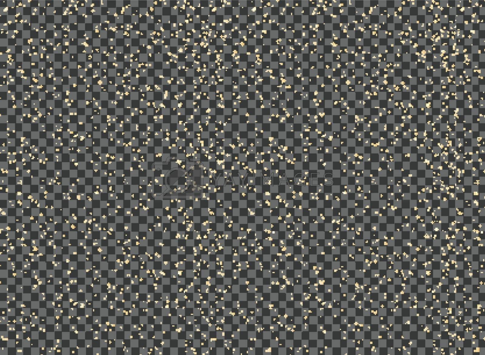 Abstract yellow paint splatter on transparent background. Glitter element. Vector illustration