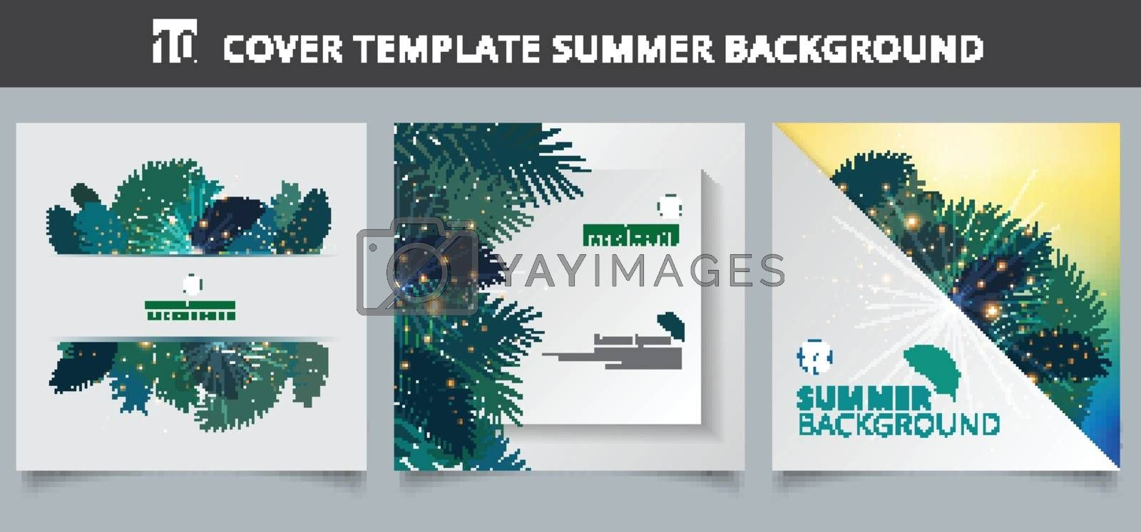 Template brochure cover summer tropical with exotic palm leaves  by phochi