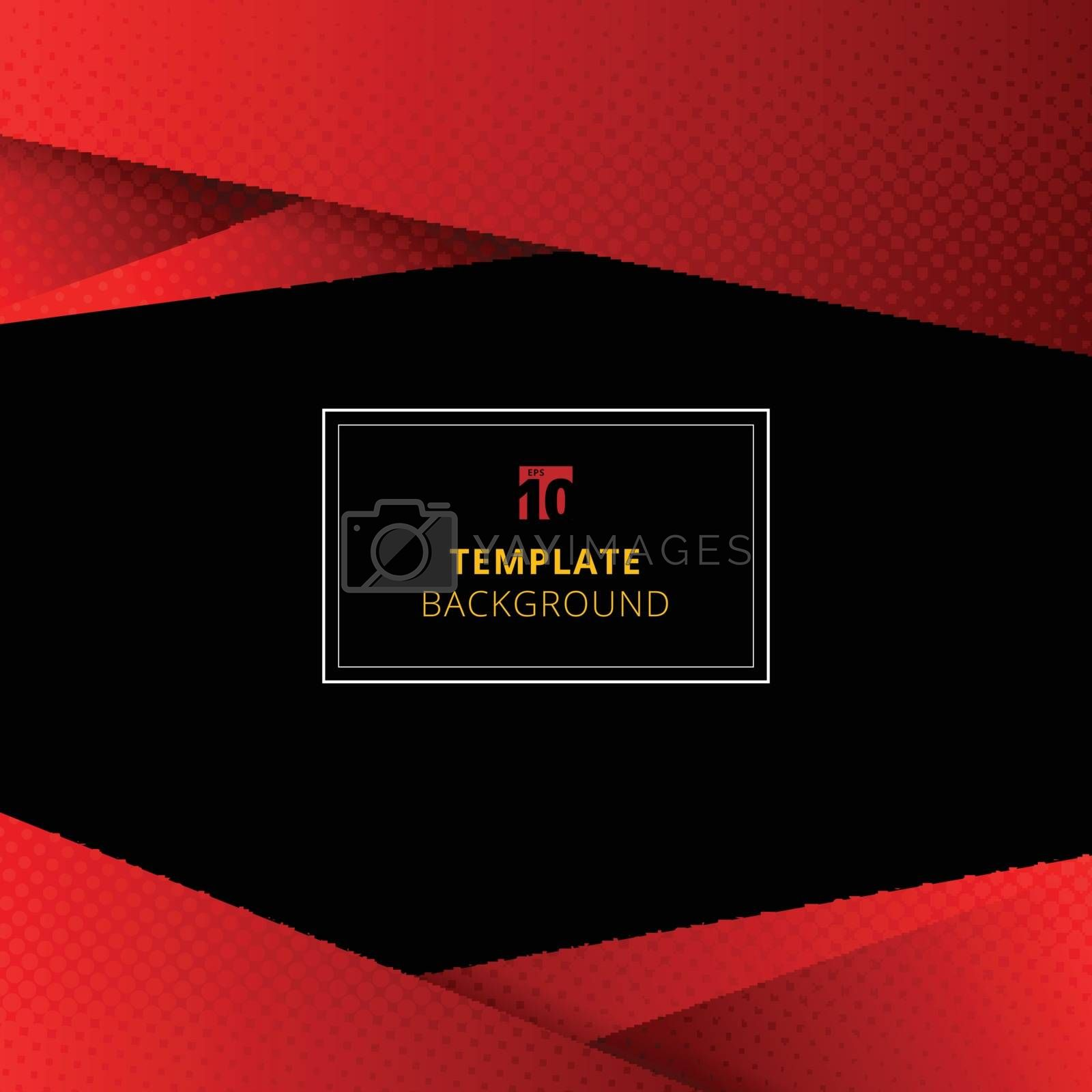 Template red geometric background with halftone texture. You can use for design print, brochure, poster, banner, website, Presentation. Vector illustration