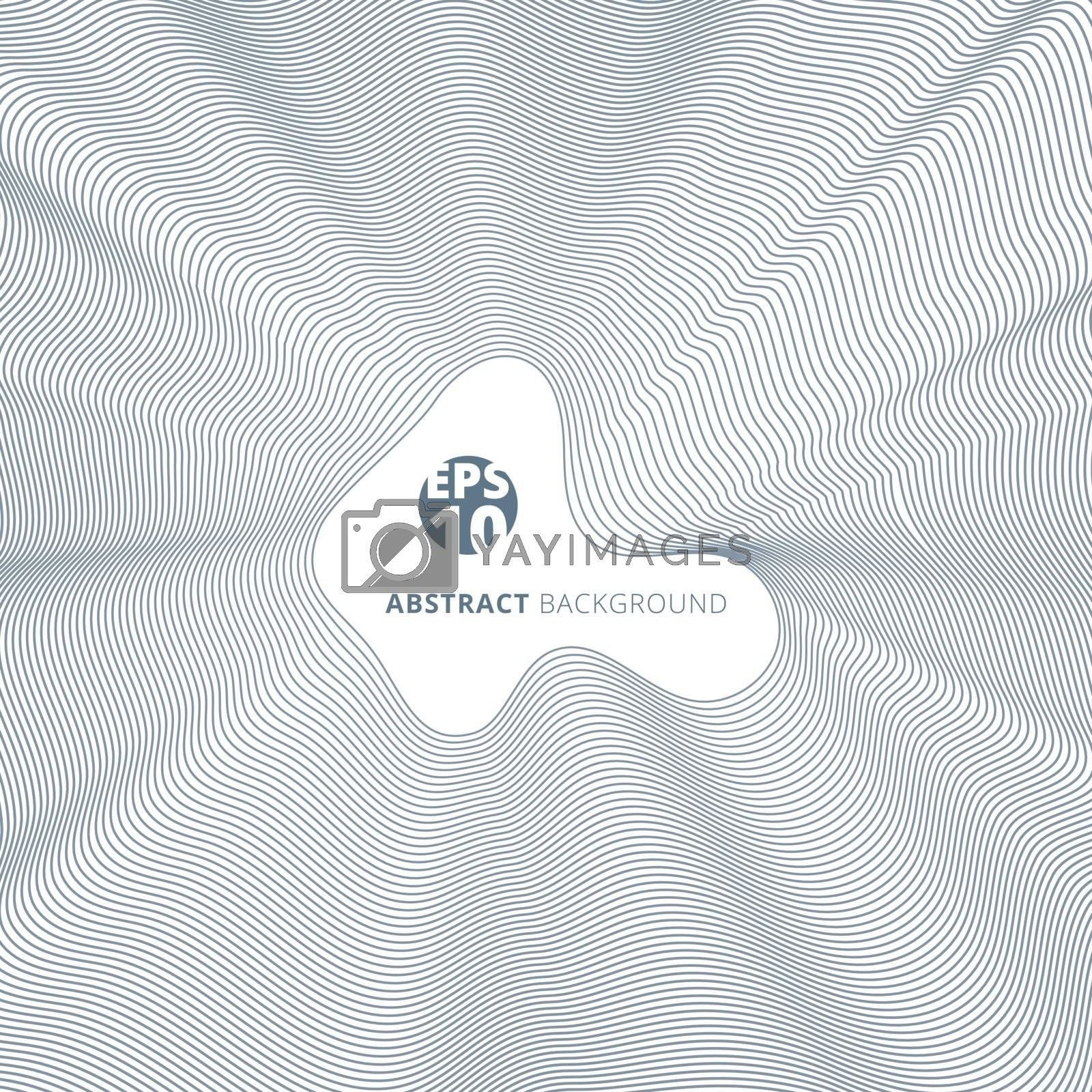 Abstract blue lines twisted pattern on white background with copy space. Vector illustration