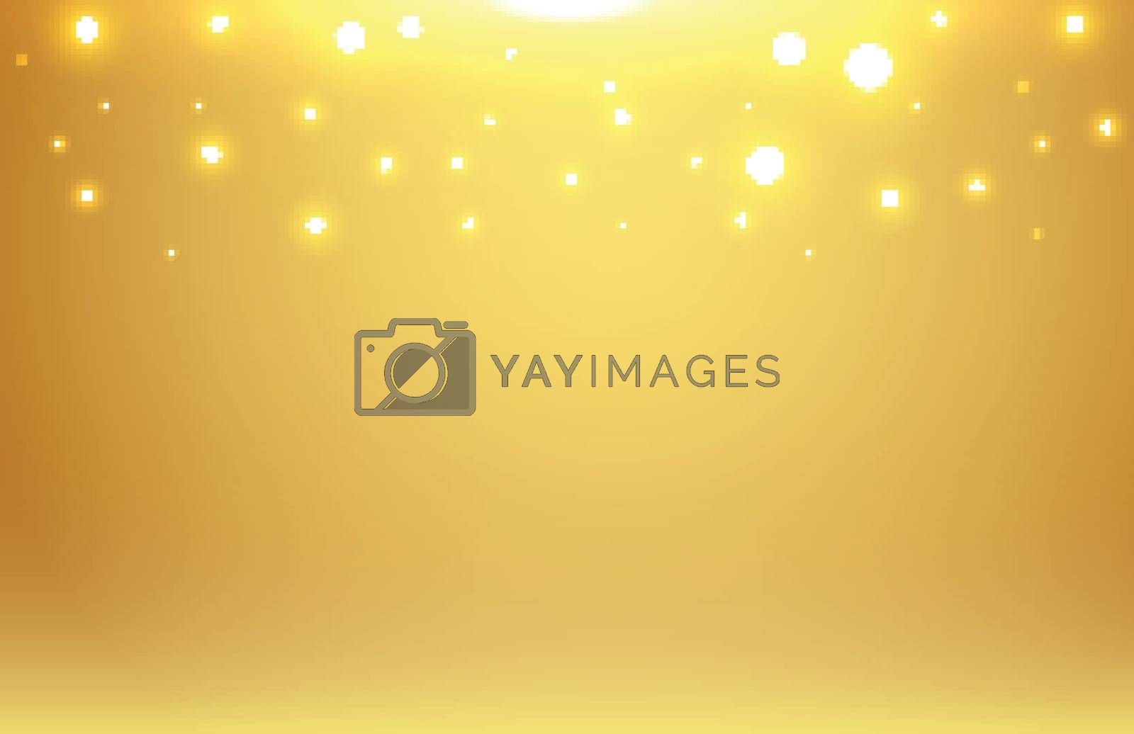 Abstract gold blurred background with bokeh and gold glitter hea by phochi