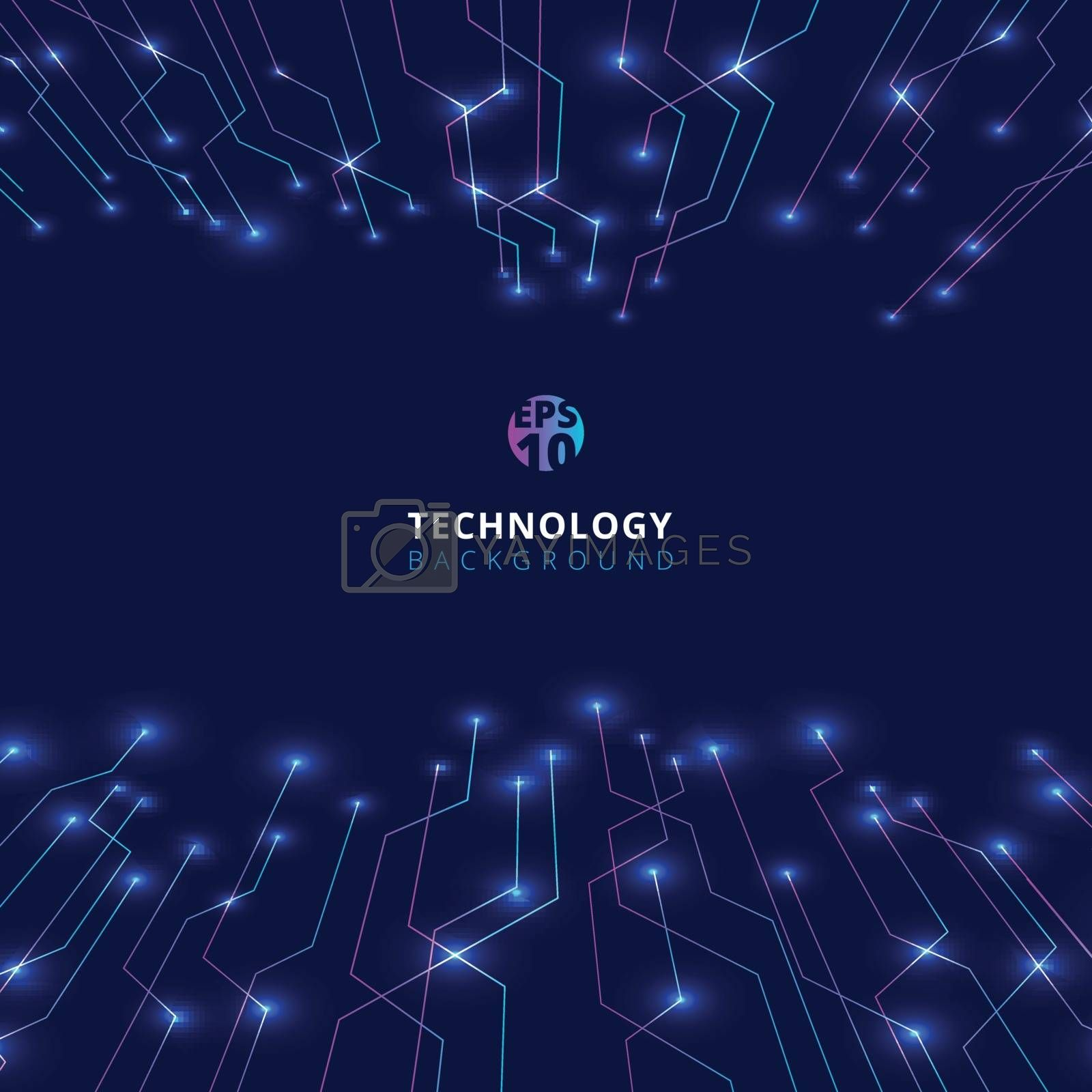 Abstract technology lines with lighting glow futuristic perspective on dark blue background. You can use for brochure, presentation, poster, leaflet, flyer, print, advertising, banner, website. Vector illustration