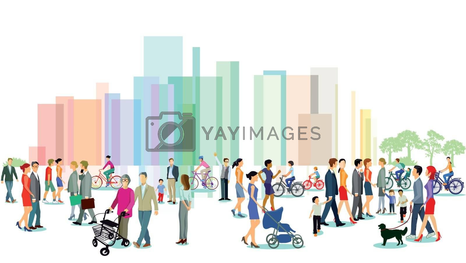Royalty free image of City with groups of people, illustration by scusi