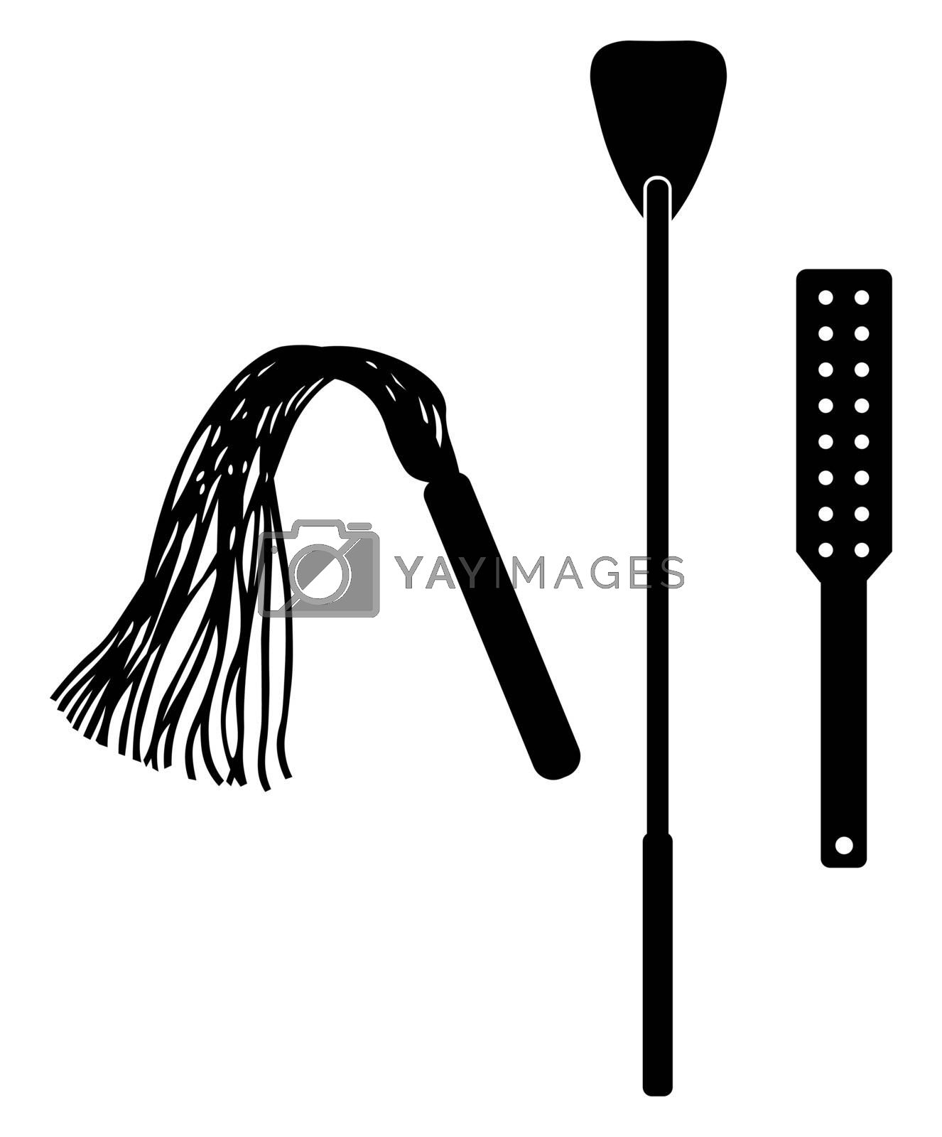 Spanking accessory. Accessory tool toy for BDSM. Isolated on white vector illustration