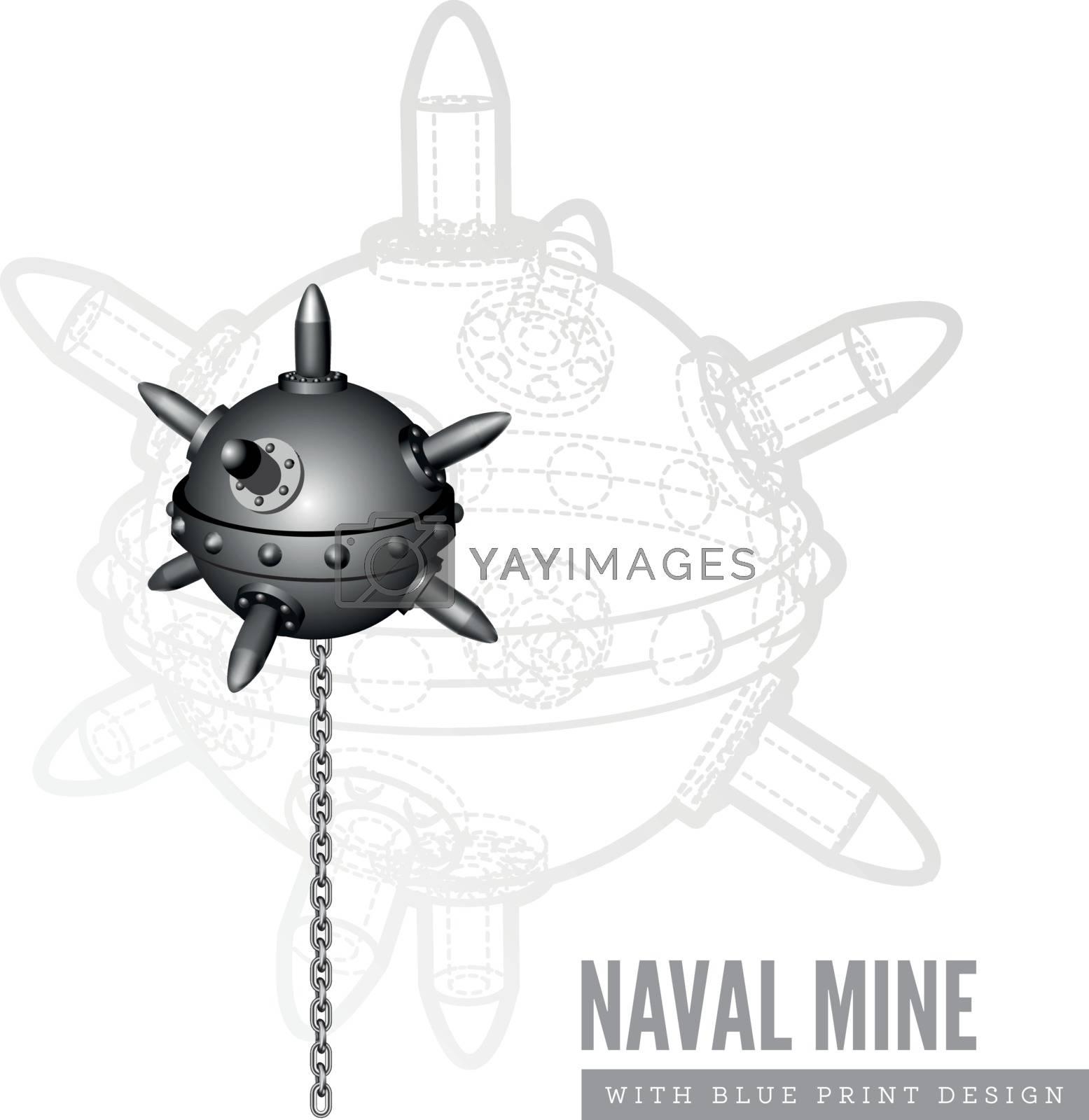Naval mine vector illustration on white background
