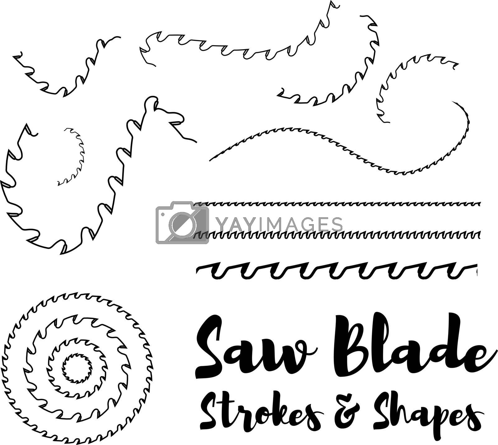 Circular saw blade strokes and shapes on white background. Vector illustration