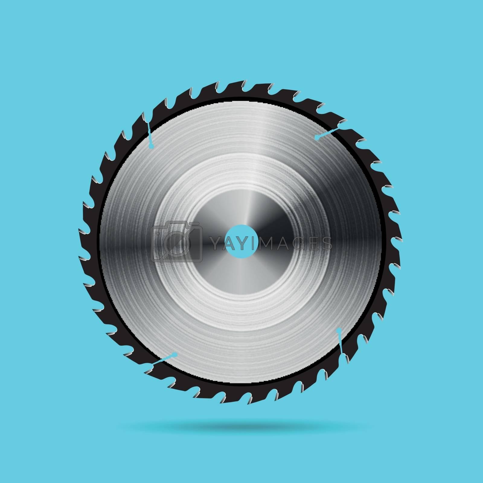 Circular saw blade on blue background. Vector illustration