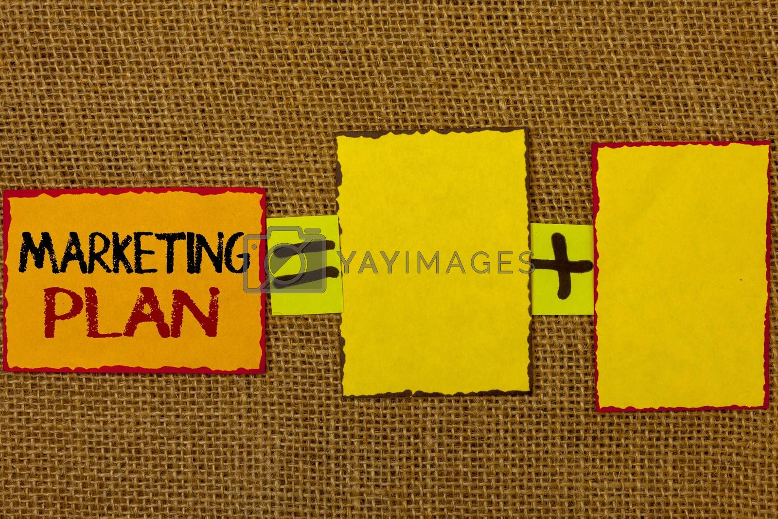 Conceptual hand writing showing Marketing Plan. Business photo showcasing Business Advertising Strategies Market Successful Ideas Text equals empty note plus emptu yellow note love funny