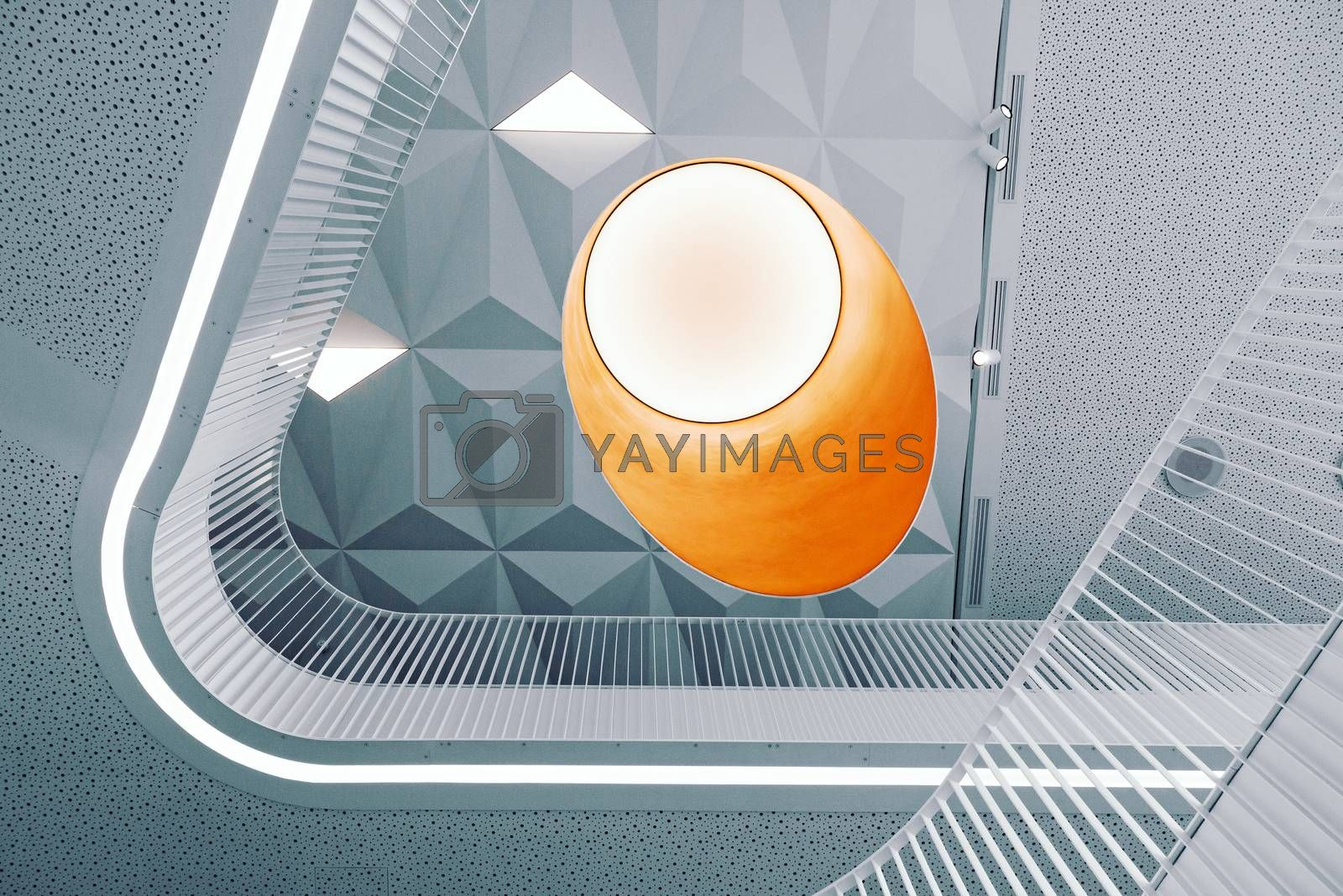 Abstract geometric lines and shapes of modern building interior, futuristic indoor picture
