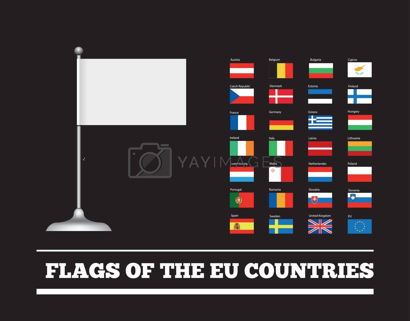Flags of the countries of the European Union. EU flags. Vector set on black background