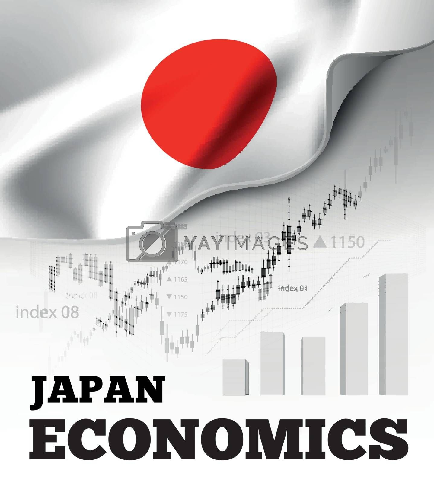 Japan economics vector illustration with japanese flag and business chart, bar chart stock numbers bull market, uptrend line graph symbolizes the welfare growth
