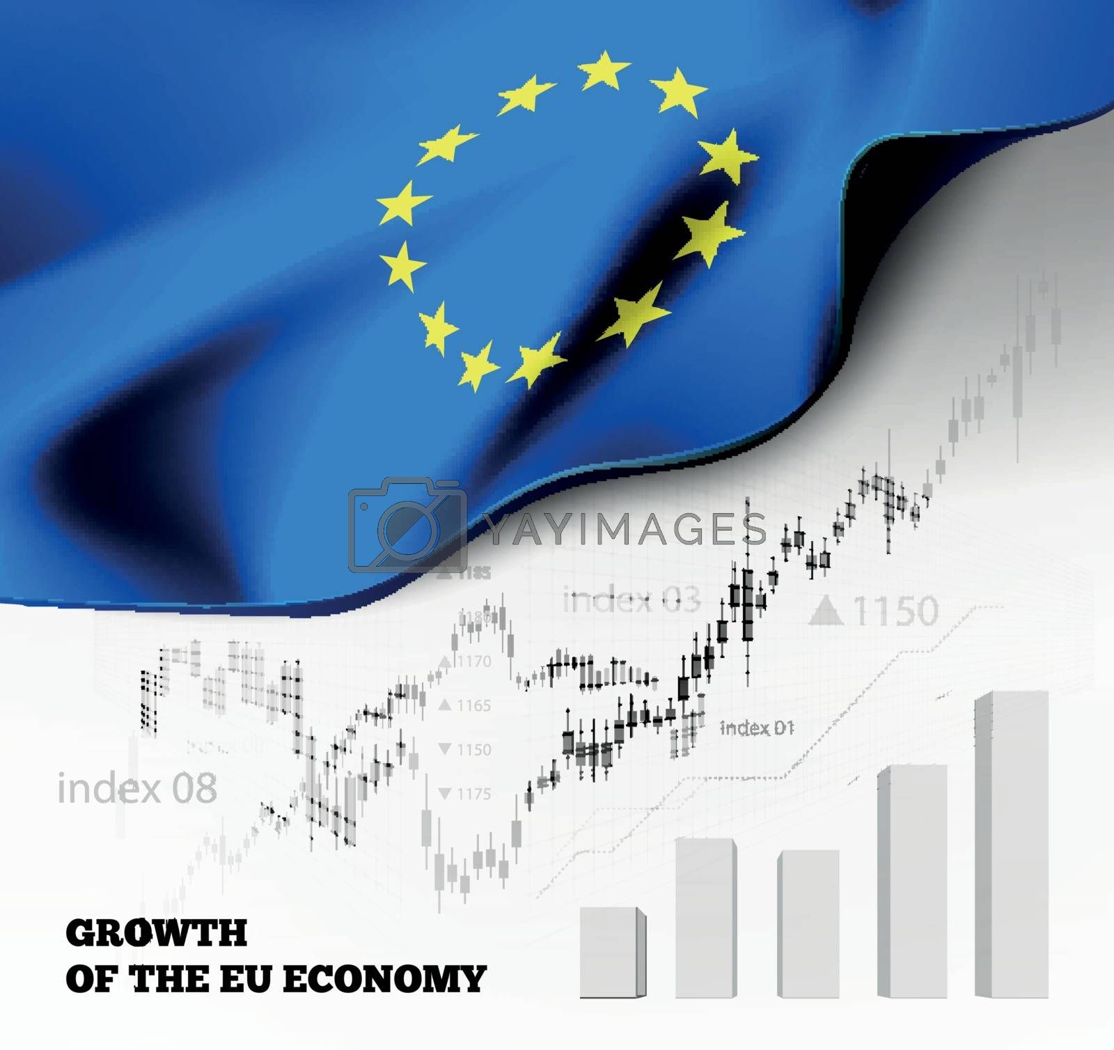 EU economics illustration with the european union flag and business chart, bar chart stock numbers bull market, uptrend line graph symbolizes the welfare growth