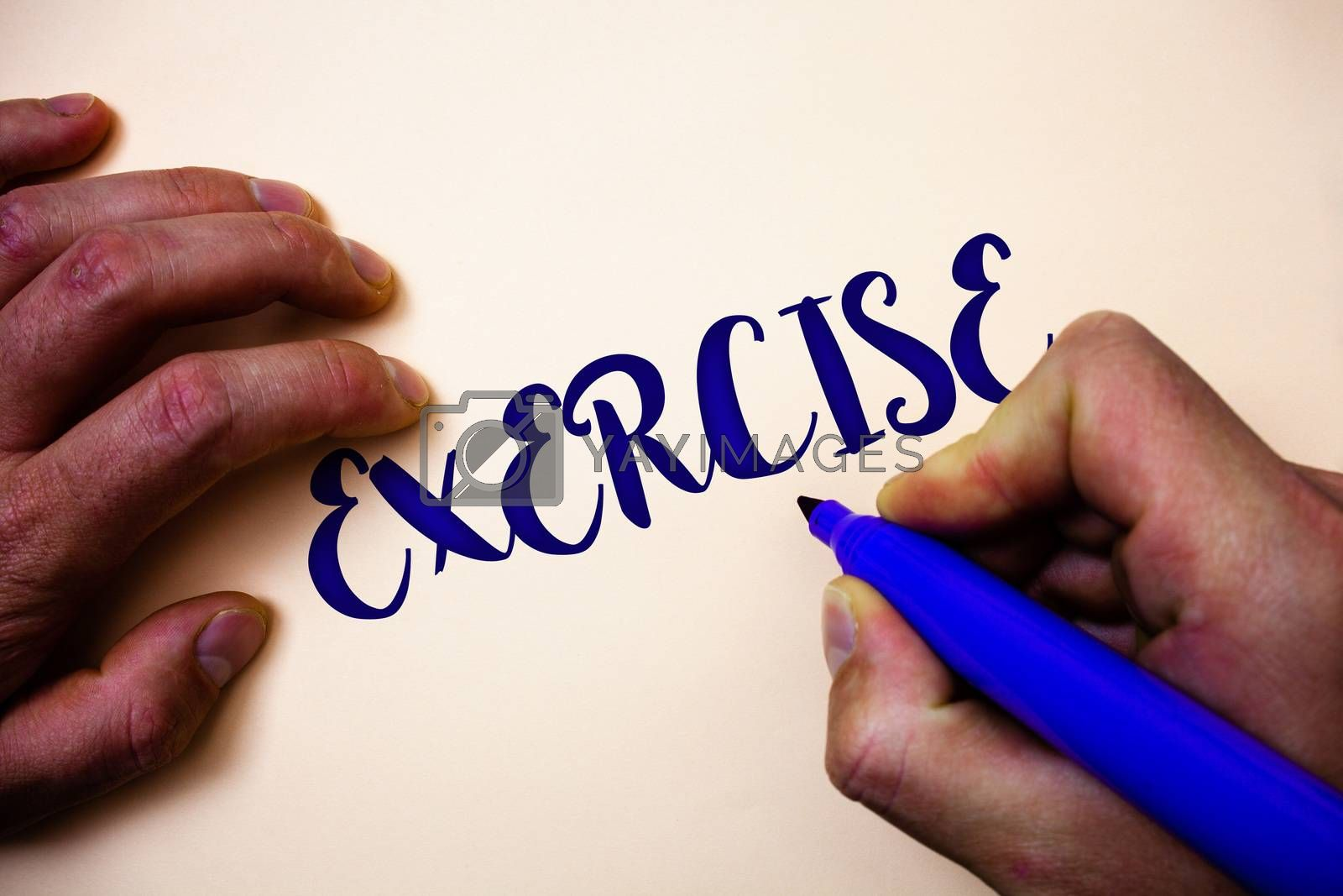 Conceptual hand writing showing Exercise. Business photo showcasing Activity requiring physical effort Bringing into play Training Man holding blue marker white background ideas inspiration