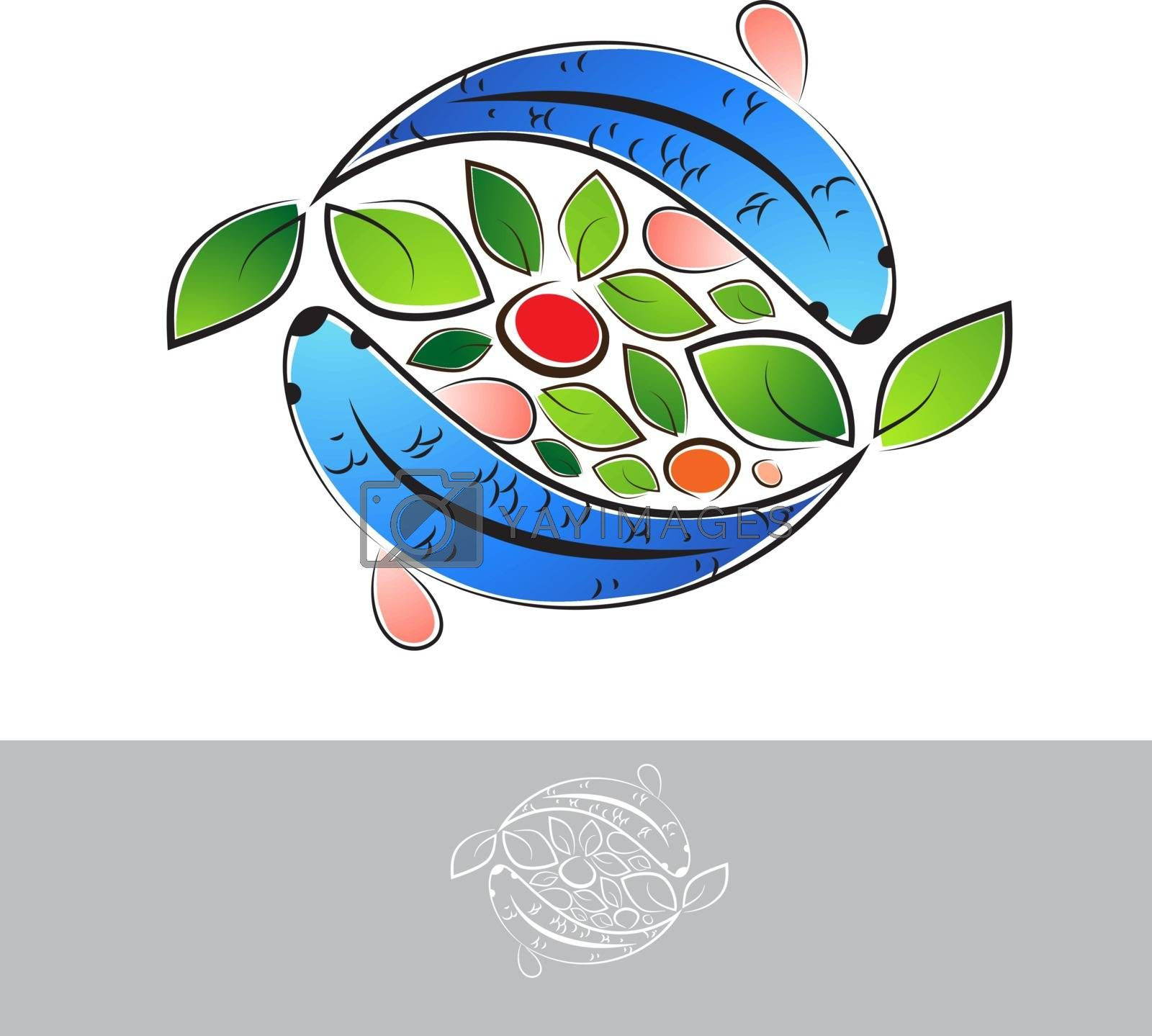 Aquaponic Logo With Fish and Vegetables