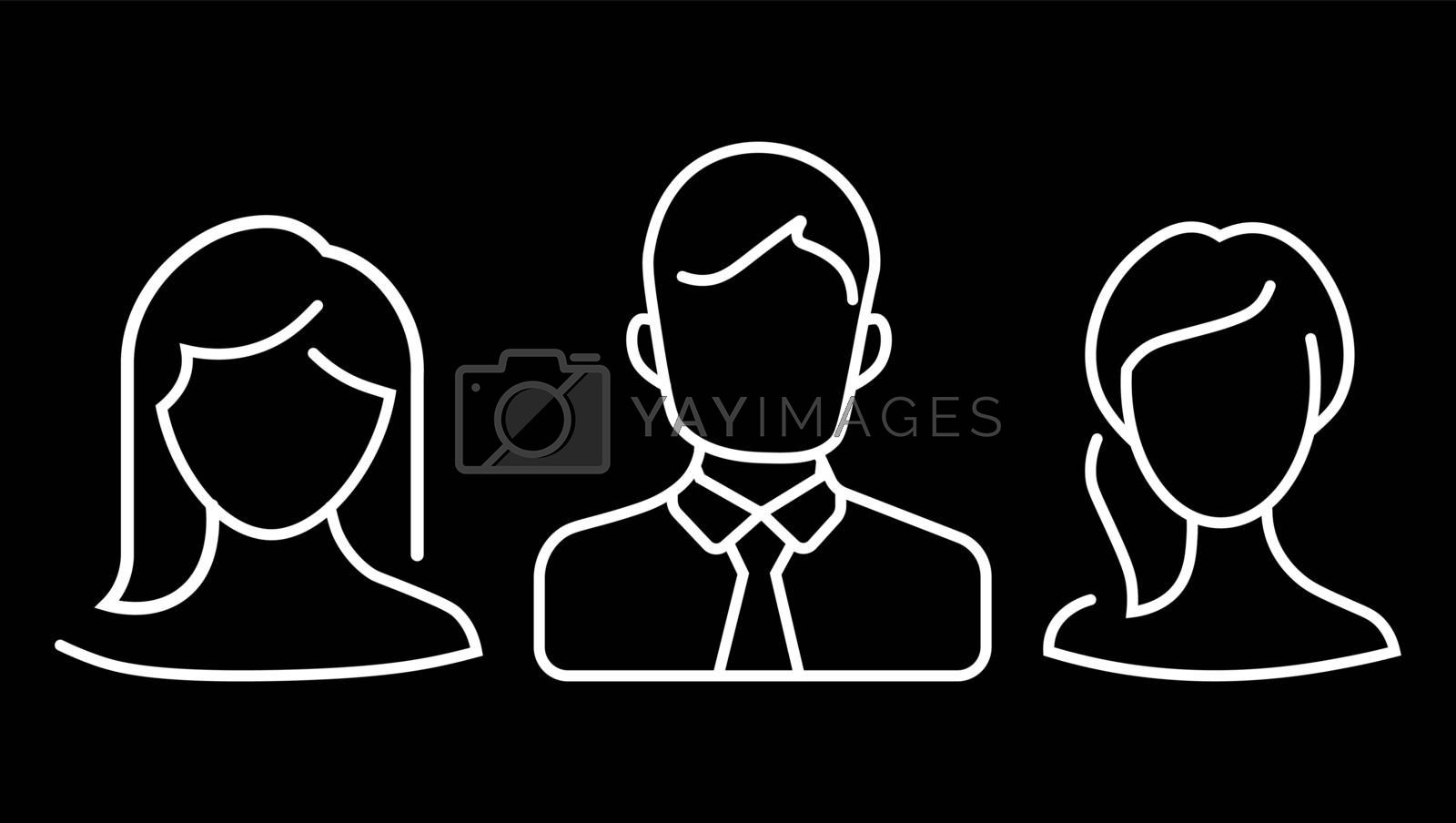 Abstract portraits of people linear icon. Avatar or user concept. Silhouette of human portrait. Simplicity illustration in outline style. Vector graphic label