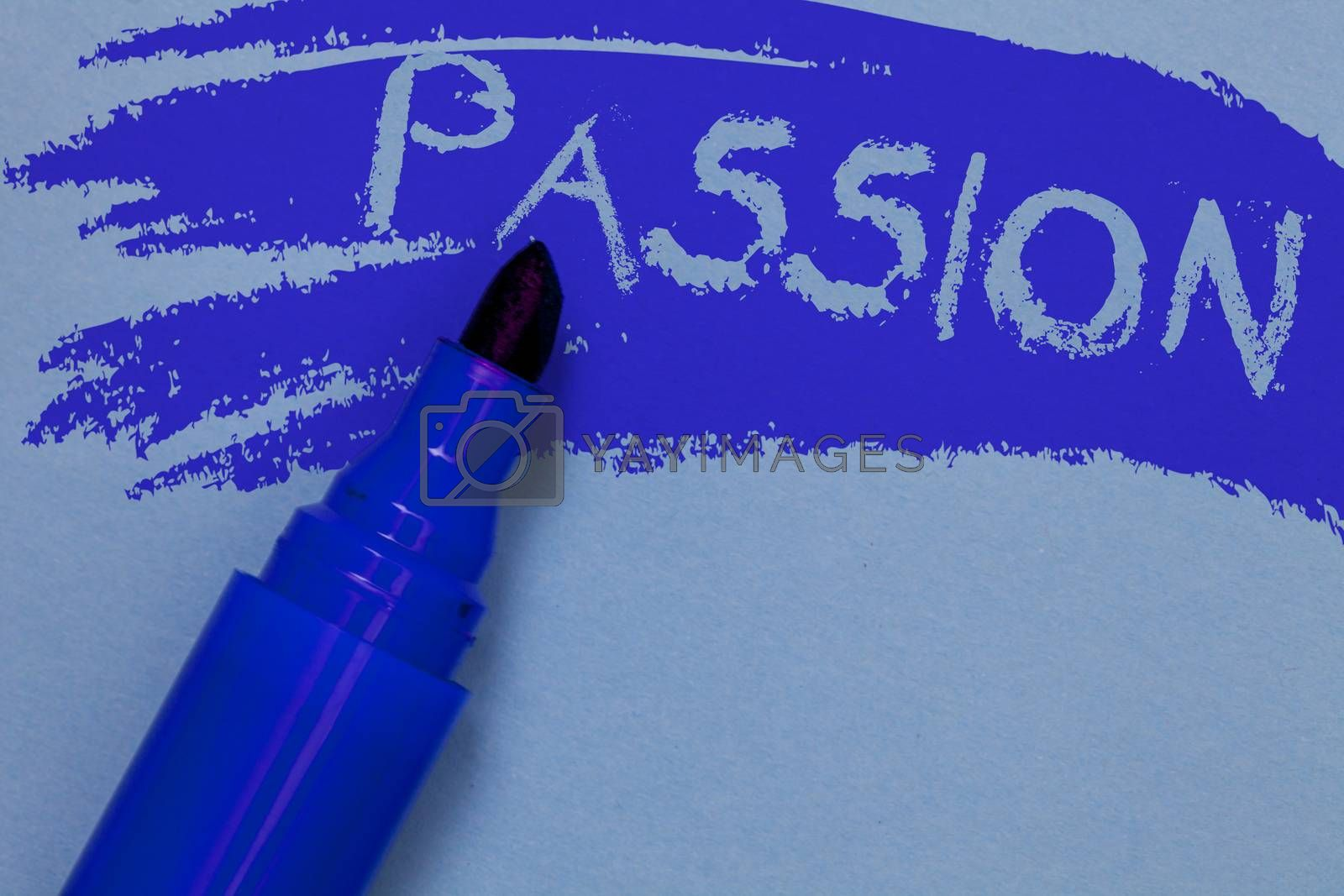 Writing note showing Passion. Business photo showcasing Strong and uncontrollable emotion Powerful feeling Sexual attraction Bold blue marker colouring sketch work type idea text plain background