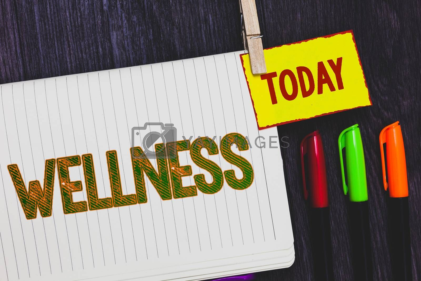 Handwriting text writing Wellness. Concept meaning Making healthy choices complete mental physical relaxation Papers marker pens nice art daily creative work wood colour black shadow. by Artur Szczybylo