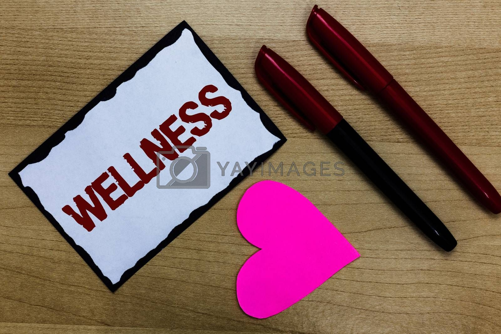 Text sign showing Wellness. Conceptual photo Making healthy choices complete mental physical relaxation Love pure wood colour hart marker pens art work black shadow memories. by Artur Szczybylo