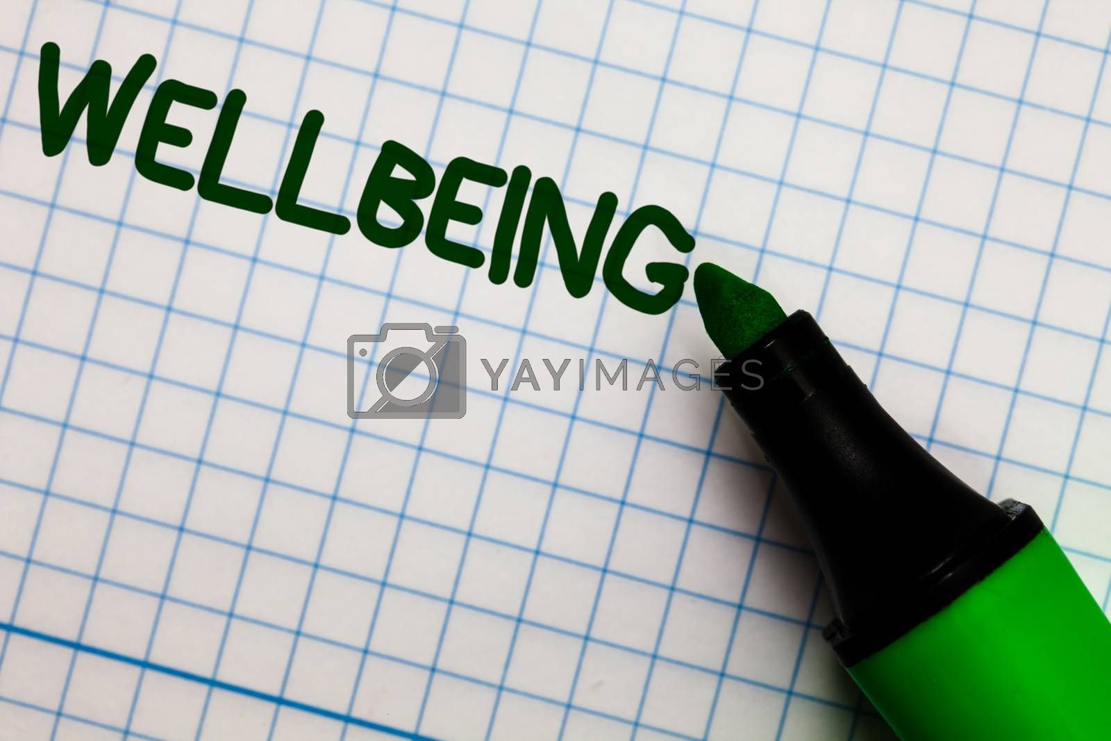 Writing note showing Wellbeing. Business photo showcasing Healthy lifestyle conditions of people life work balance Graph paper marker pen ideas theories practical work important white