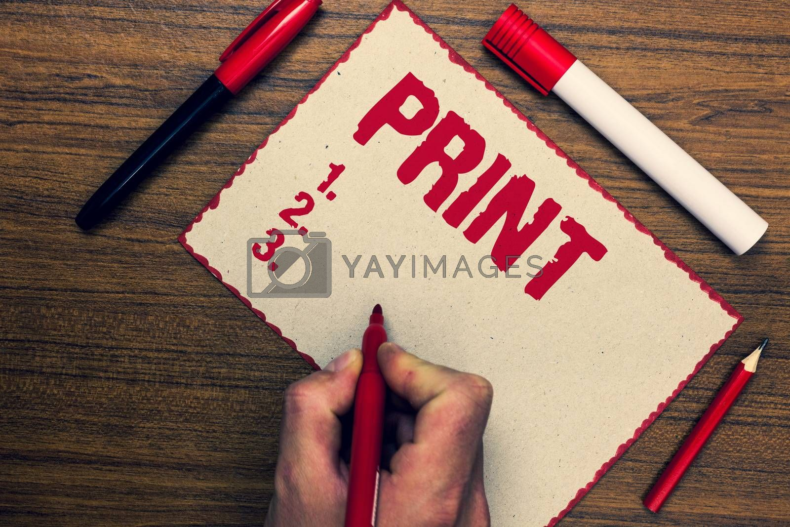 Handwriting text Print. Concept meaning Produce letter numbers symbols on paper by machine using ink or toner Three marker pens nice small pitch art paper lovely love ideas wood shadow
