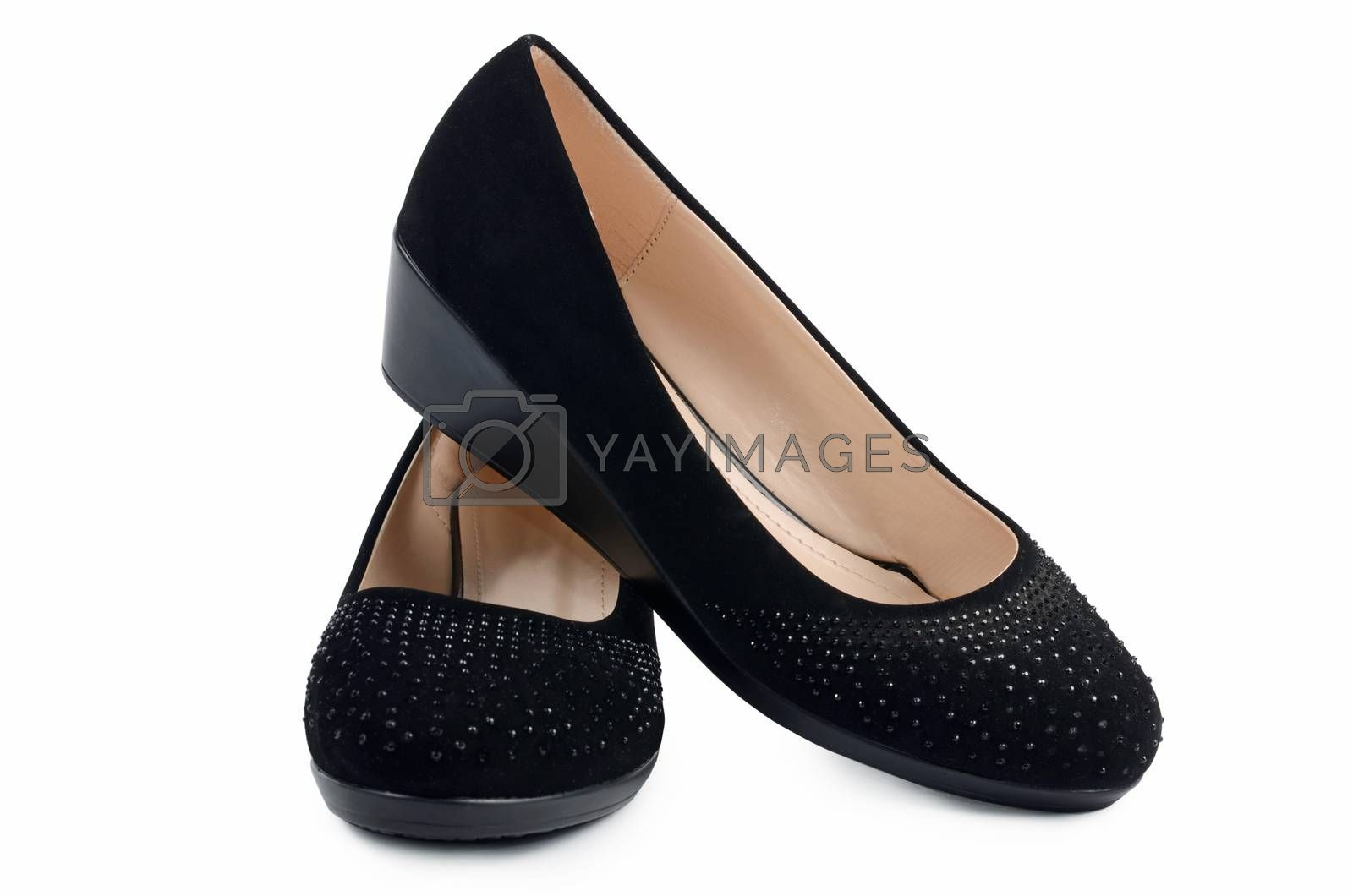 Women's black shoes isolated on white background