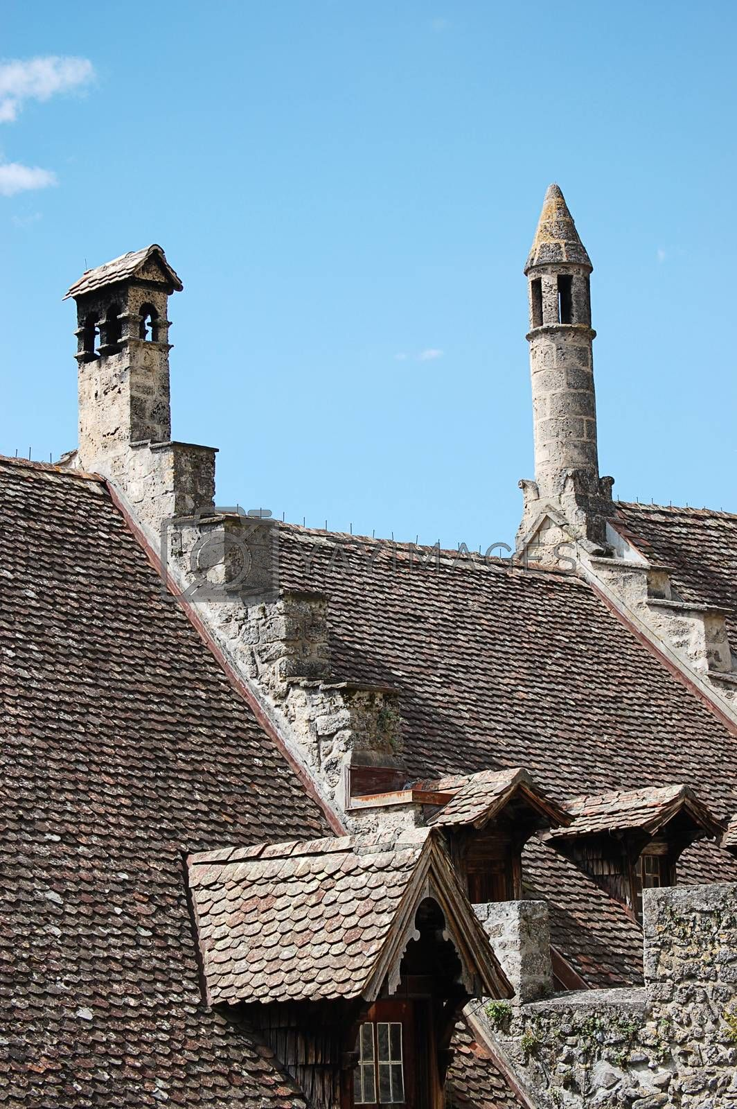 The a roof Chillon castle in Switzerland