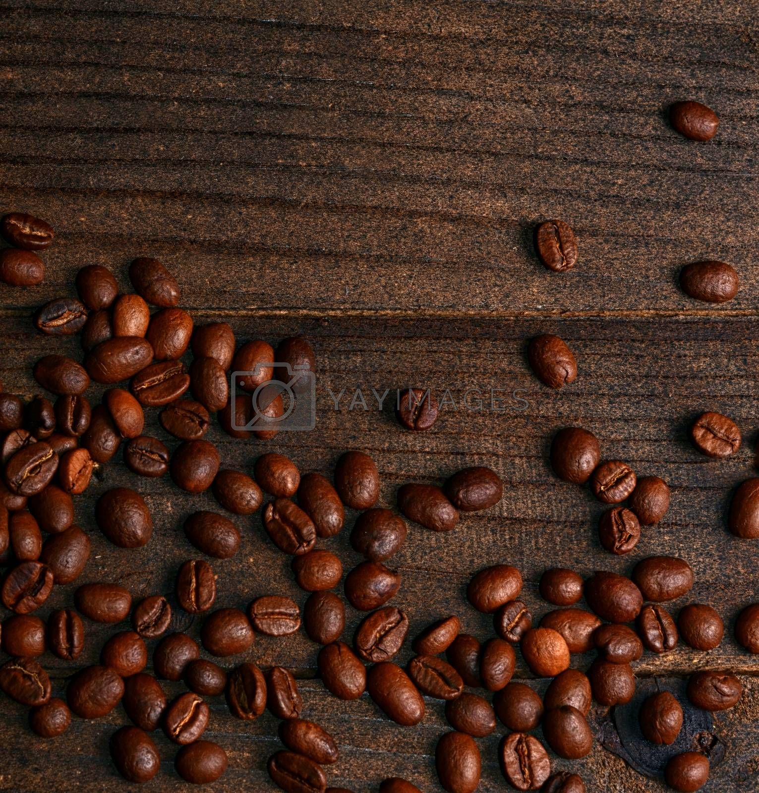 The coffee beans on a wooden background