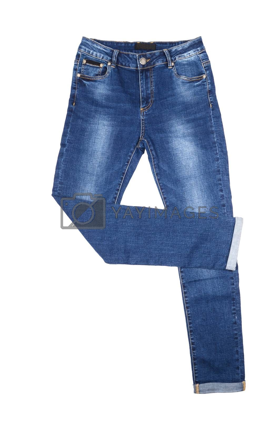 Blue female jeans isolated on white background