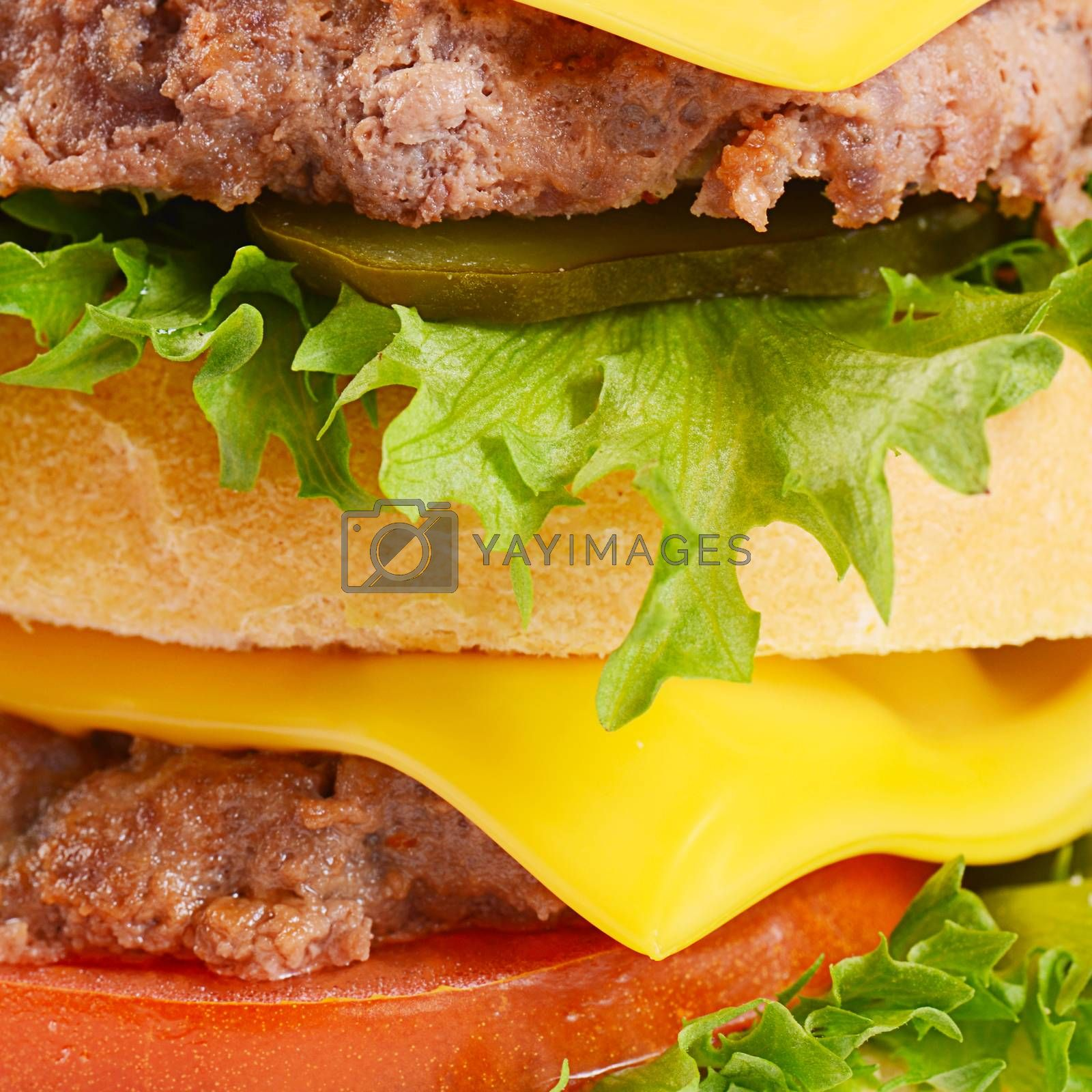 Hamburger with cutlet and cheese on white