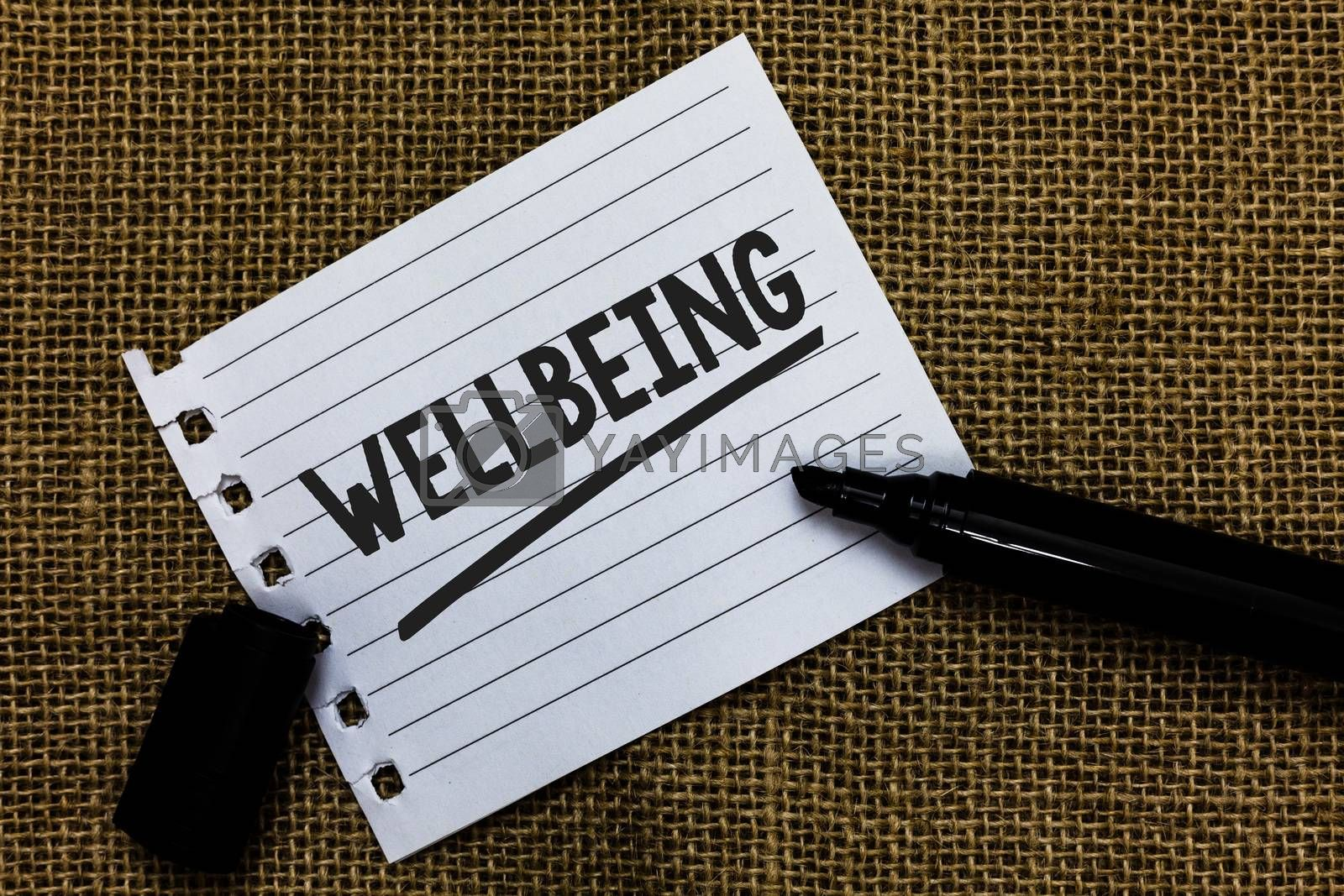 Writing note showing Wellbeing. Business photo showcasing Healthy lifestyle conditions of people life work balance Ideas paper marker pens important inspiration memories love thoughts. by Artur Szczybylo