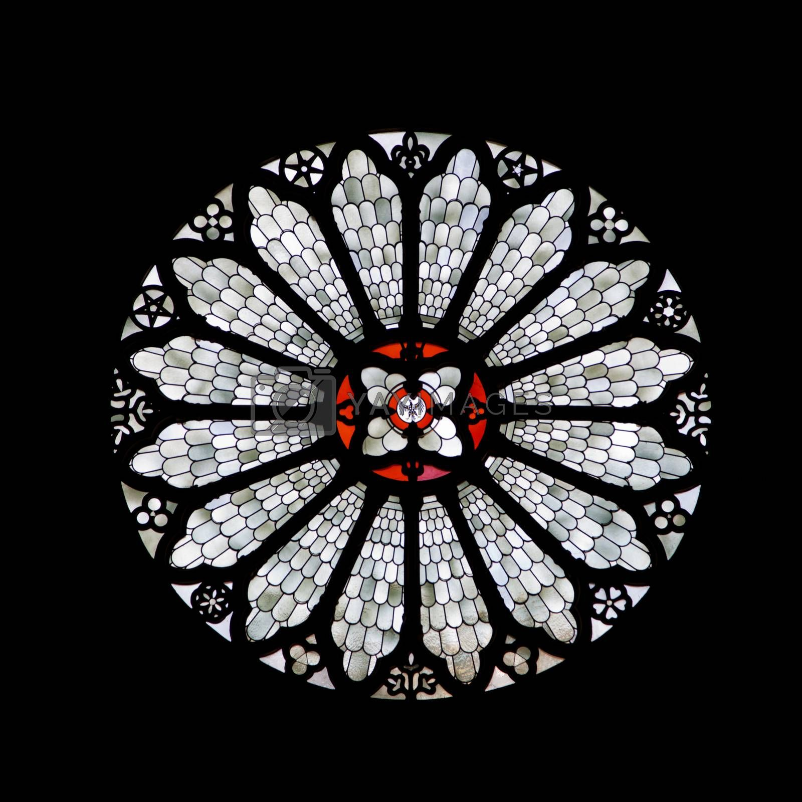 Stained-glass rose window of Trento cathedral, Northern Italy