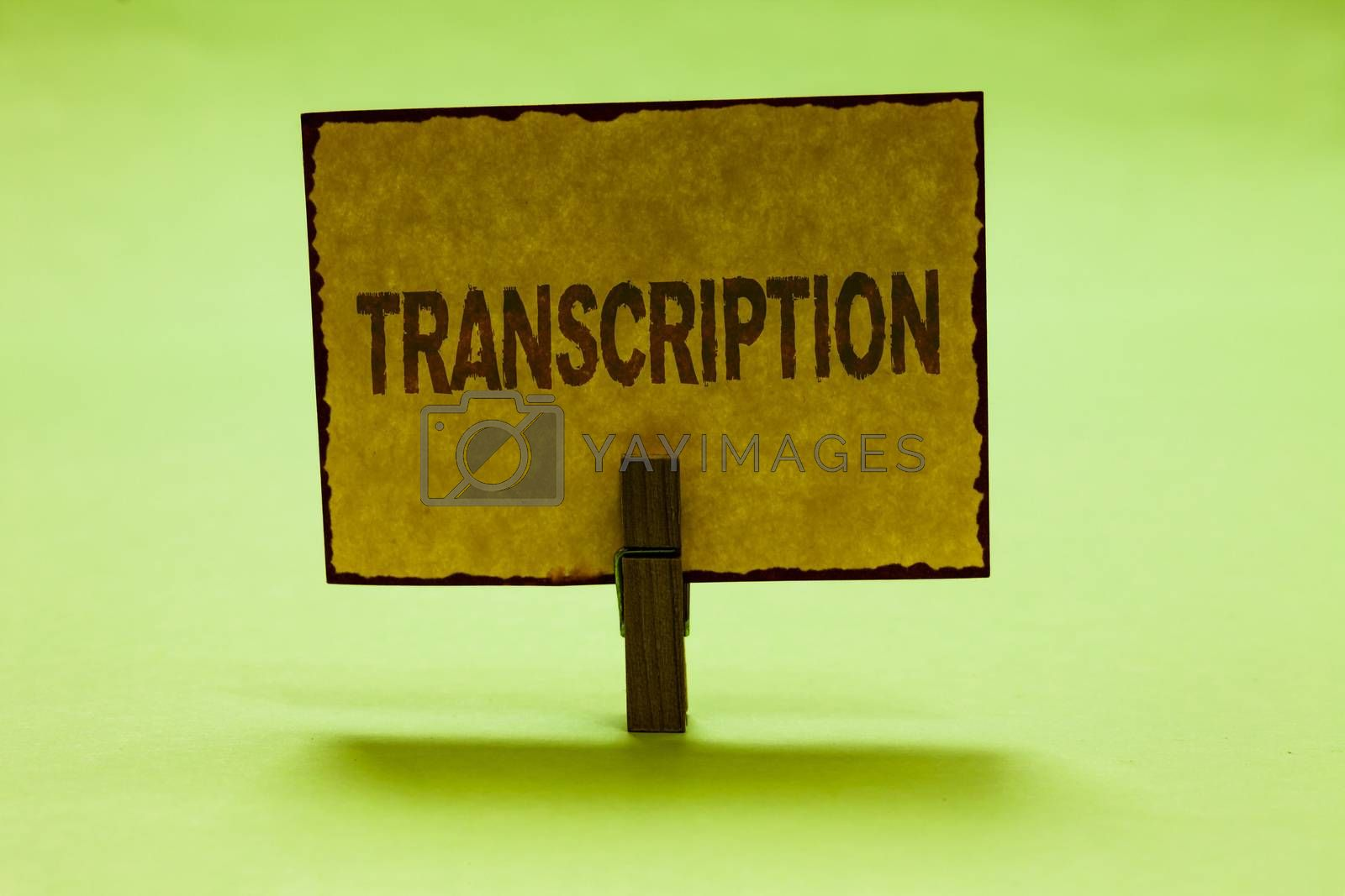 Conceptual hand writing showing Transcription. Business photo text Written or printed process of transcribing words text voice Nice lime colour shadow billboard important clip paperclip ideas