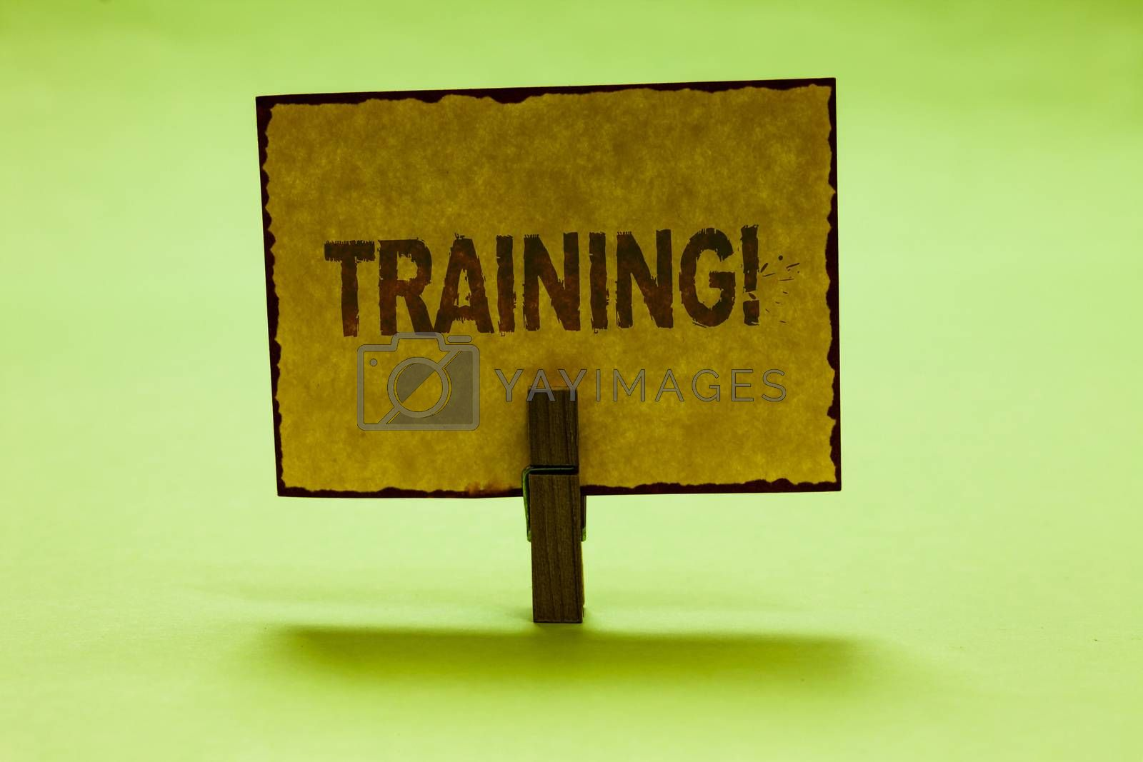 Conceptual hand writing showing Training Motivational Call. Business photo text Organized activity to develop skill set of people Nice lime colour shadow billboard important clip paperclip ideas