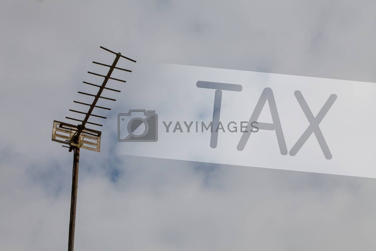 Writing note showing Tax. Business photo showcasing Compulsory payment of taxes by people to government increase revenue Sky cloud cloudy grey gloomy tall big antenna nature rainy day weather