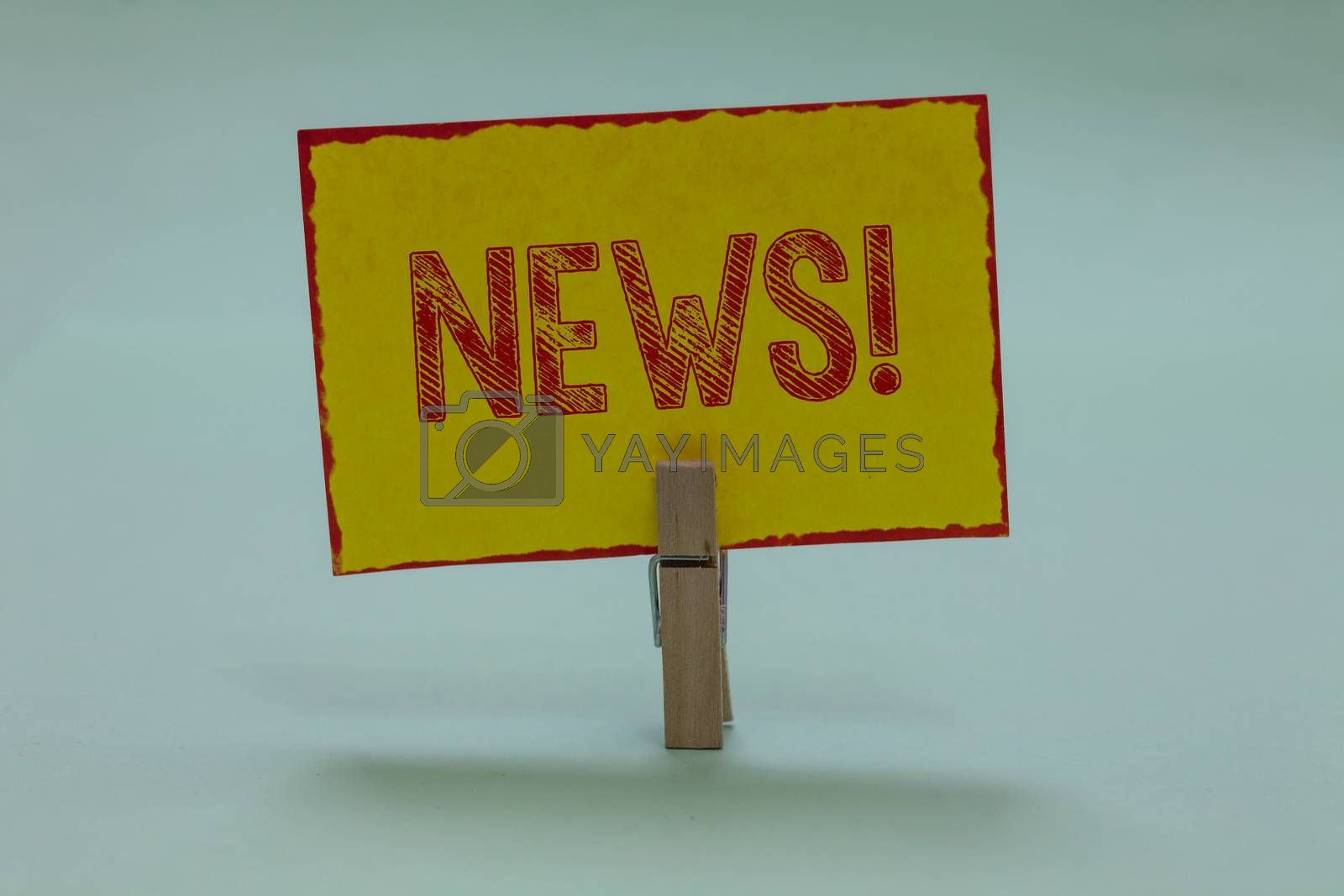 Conceptual hand writing showing News Motivational Call. Business photo text Report recent events Previously unknown information Display yellow sticky card convey messages idea notice office