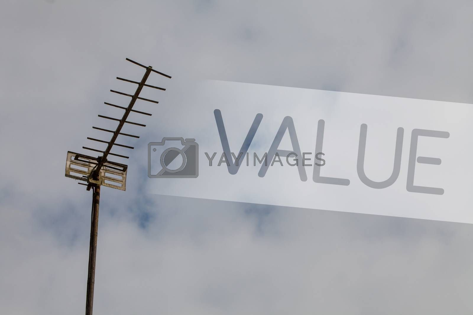 Writing note showing Value. Business photo showcasing Something or someone regarded as highly significant valuable Sky cloud cloudy grey gloomy tall big antenna nature rainy day weather