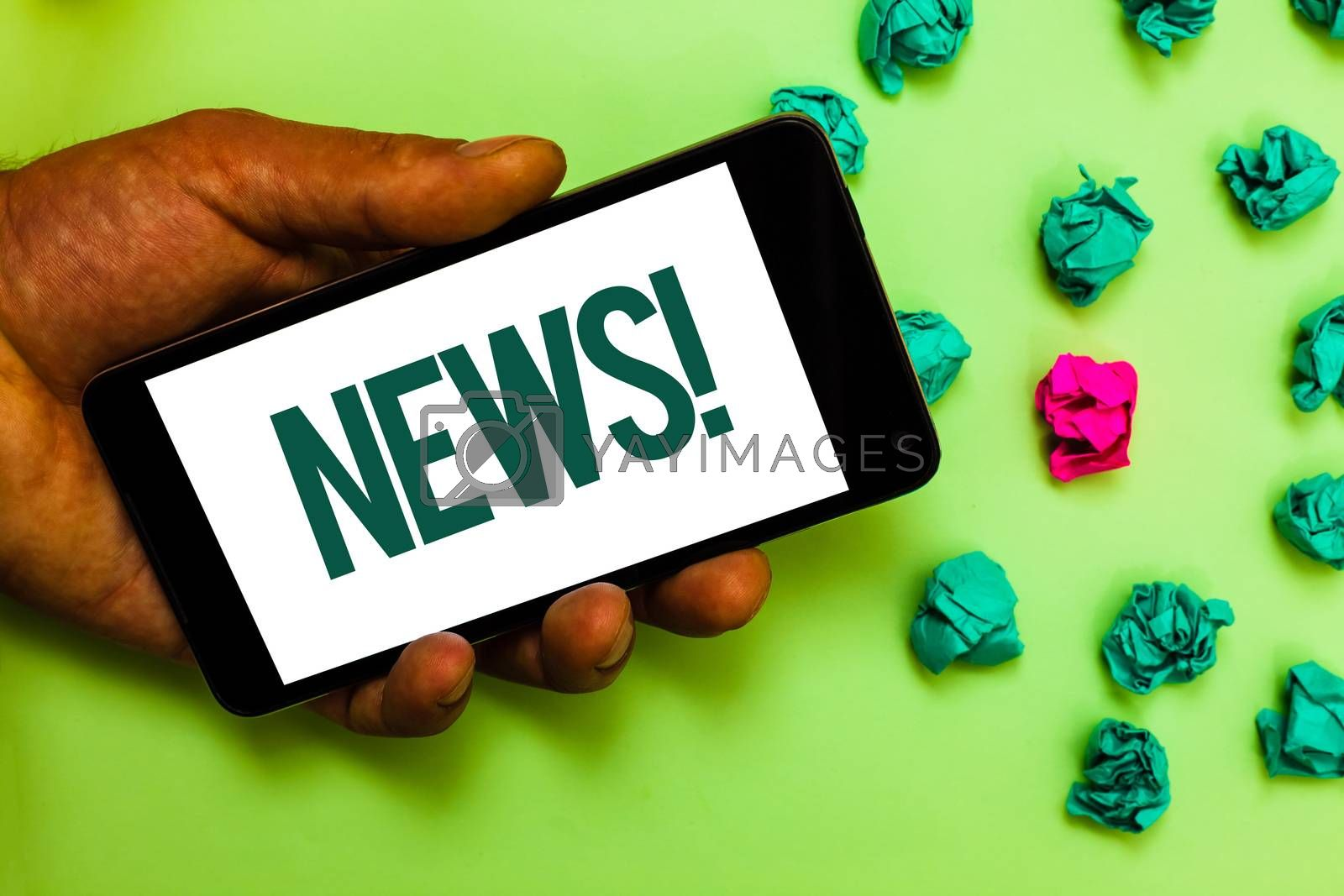 Conceptual hand writing showing News Motivational Call. Business photo text Report recent events Previously unknown information Text message smart screen mobile handset crumpled small balls